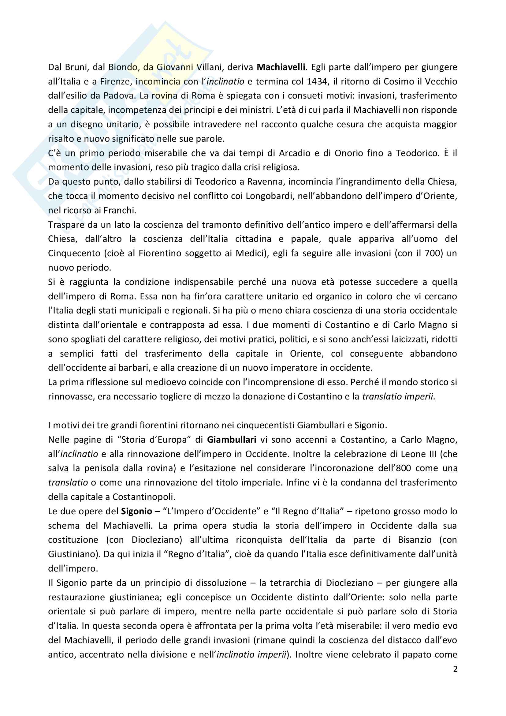 Riassunto esame Storia della storiografia medievale, prof. Del Fuoco, libro consigliato La Polemica sul medioevo, Falco Pag. 2