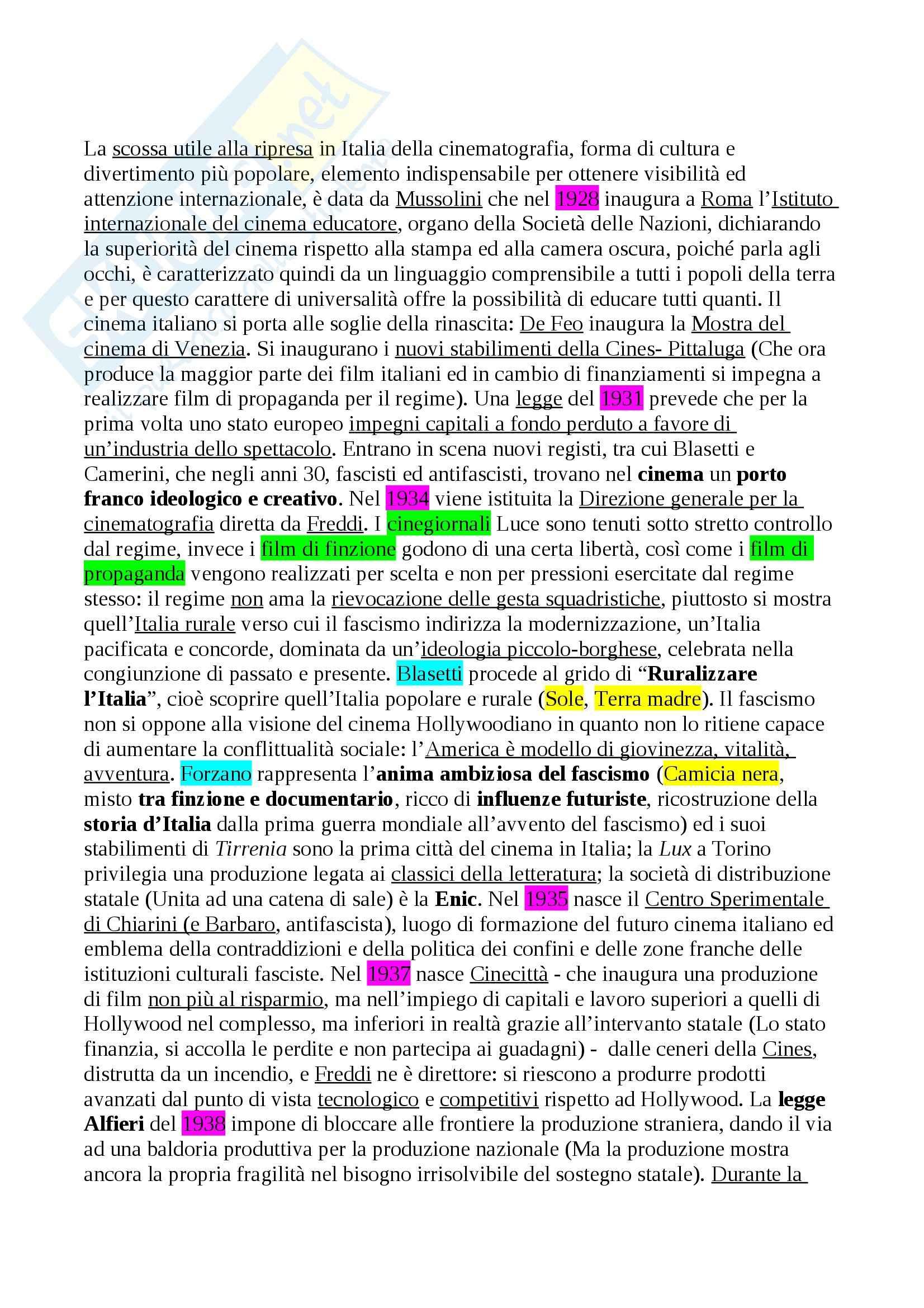 Riassunto esame Storia del Cinema Italiano, prof. Della Torre Pag. 6
