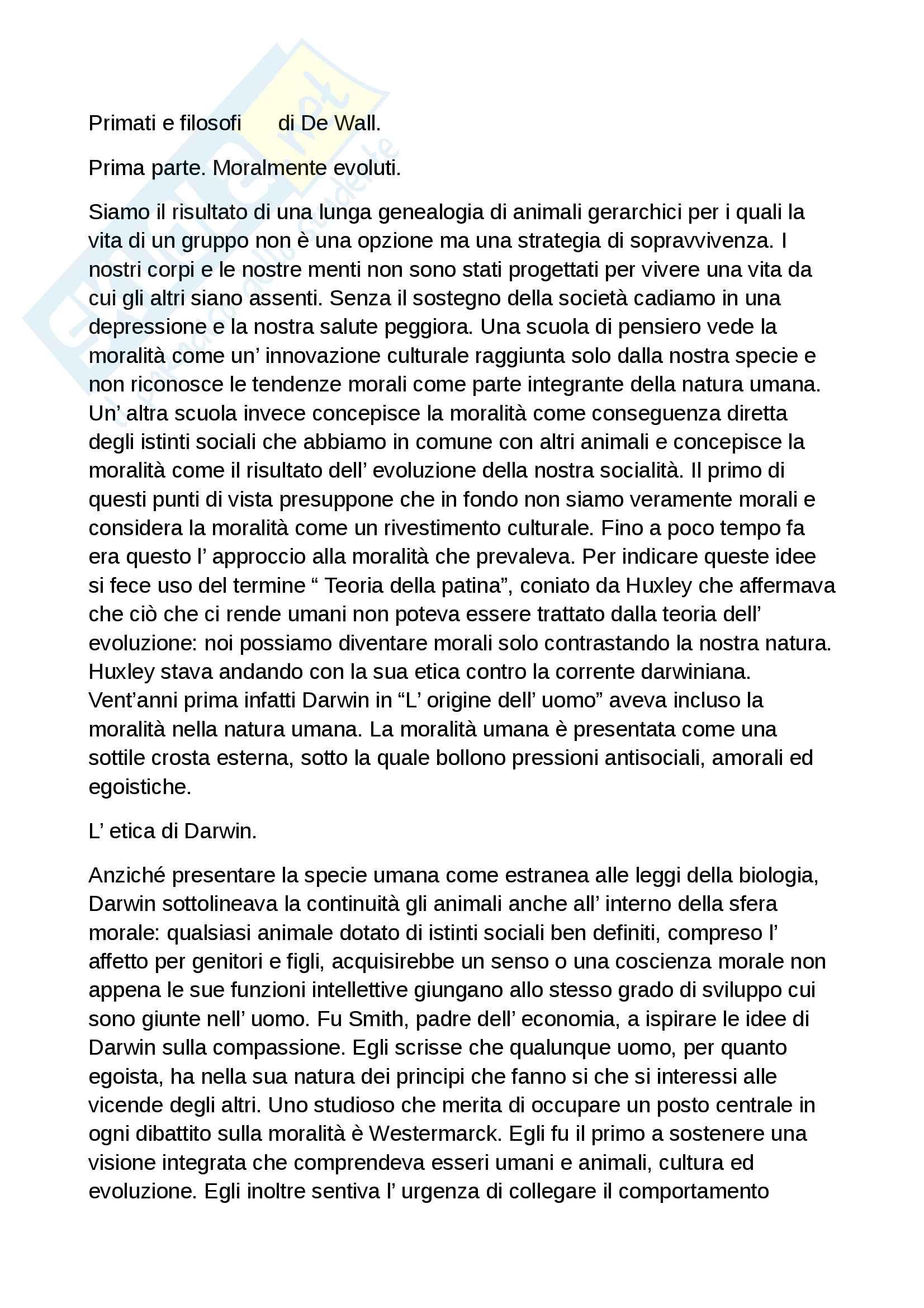 Riassunto esame Processi cognitivi della comunicazione, docente Perconti, libro consigliato Primati e filosofi di De Wall