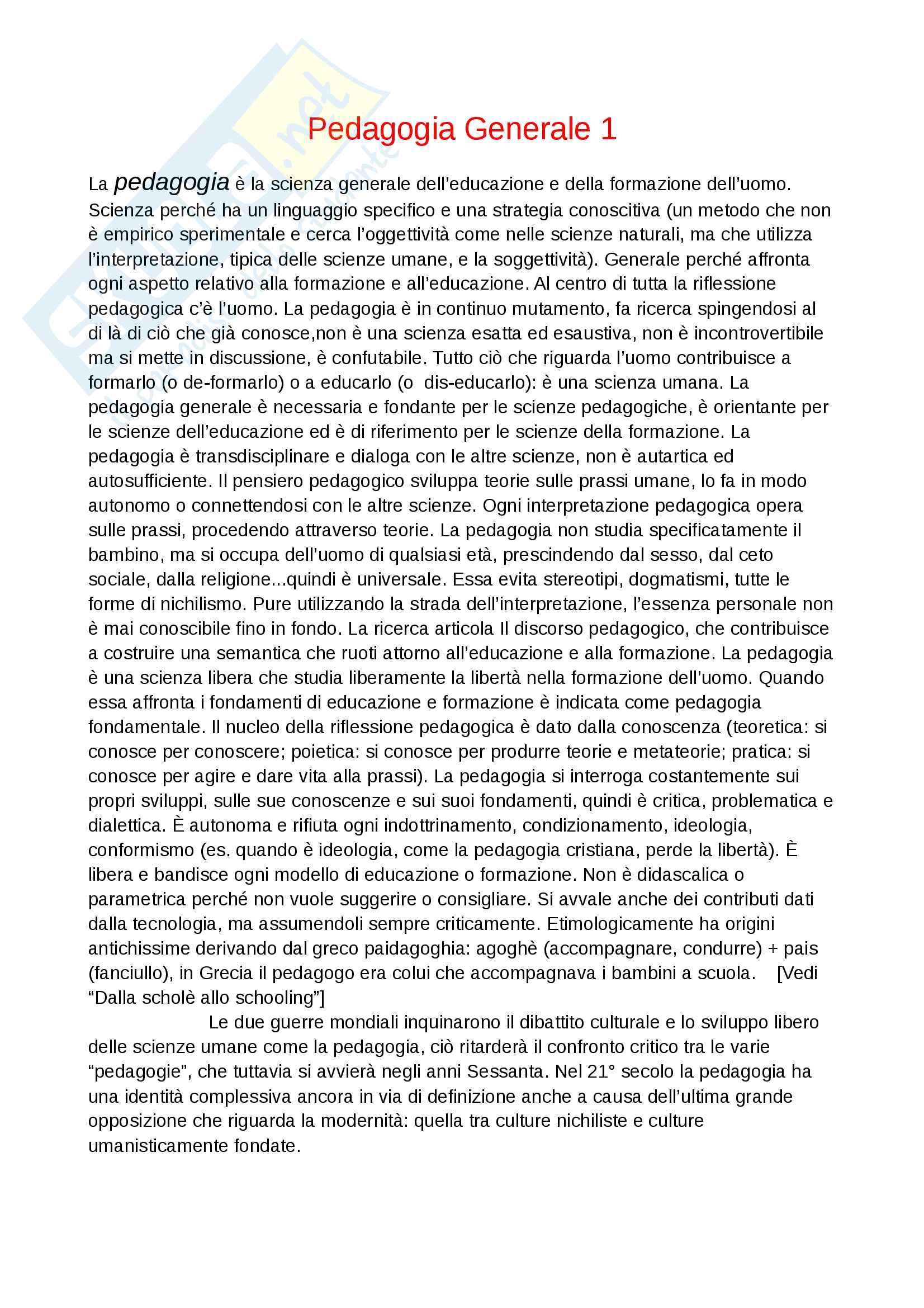 """Appunti di pedagogia generale, libro consigliato """"Trattato di pedagogia generale"""" di Mario Gennari"""