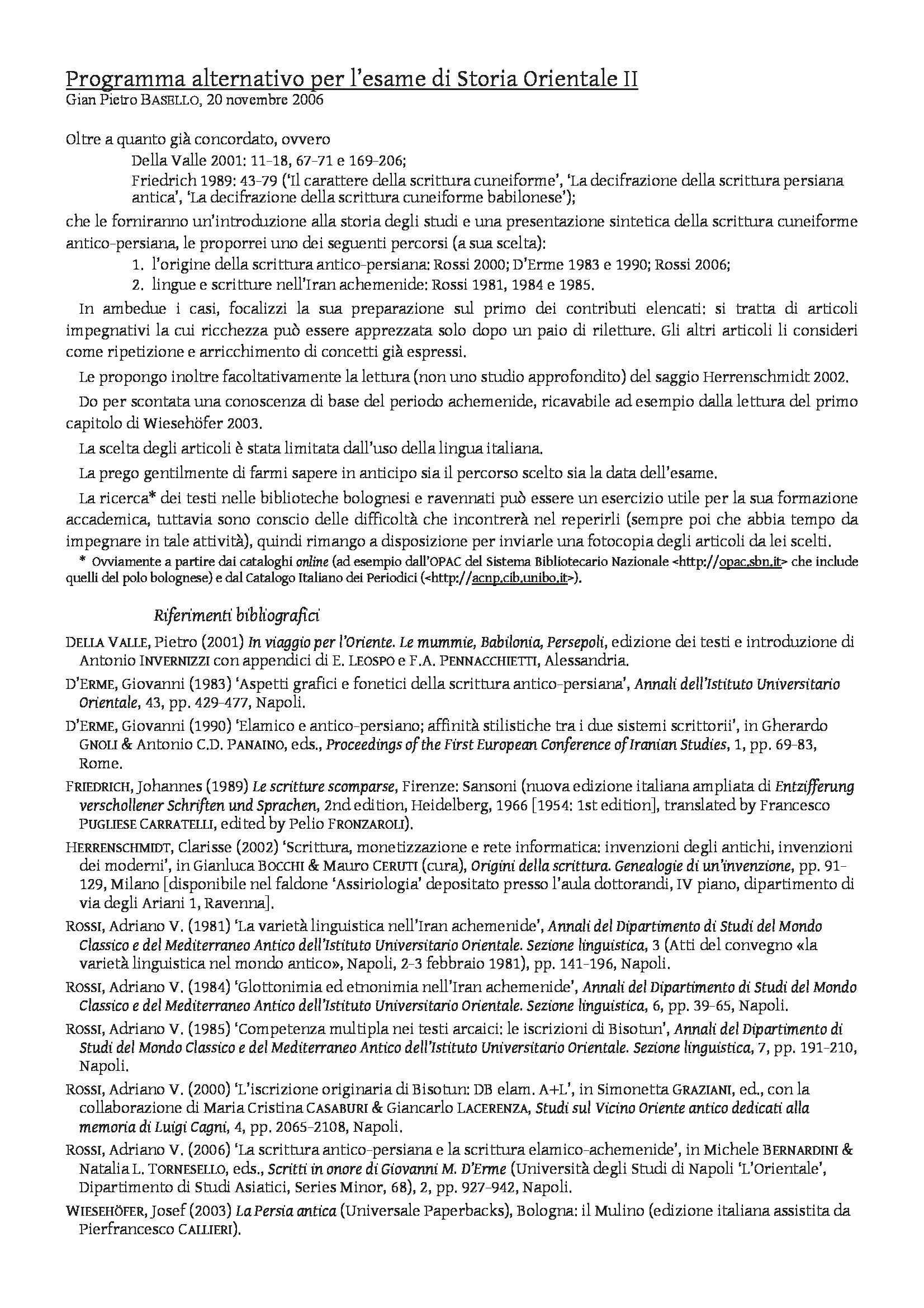 dispensa G. Basello Storia Orientale II