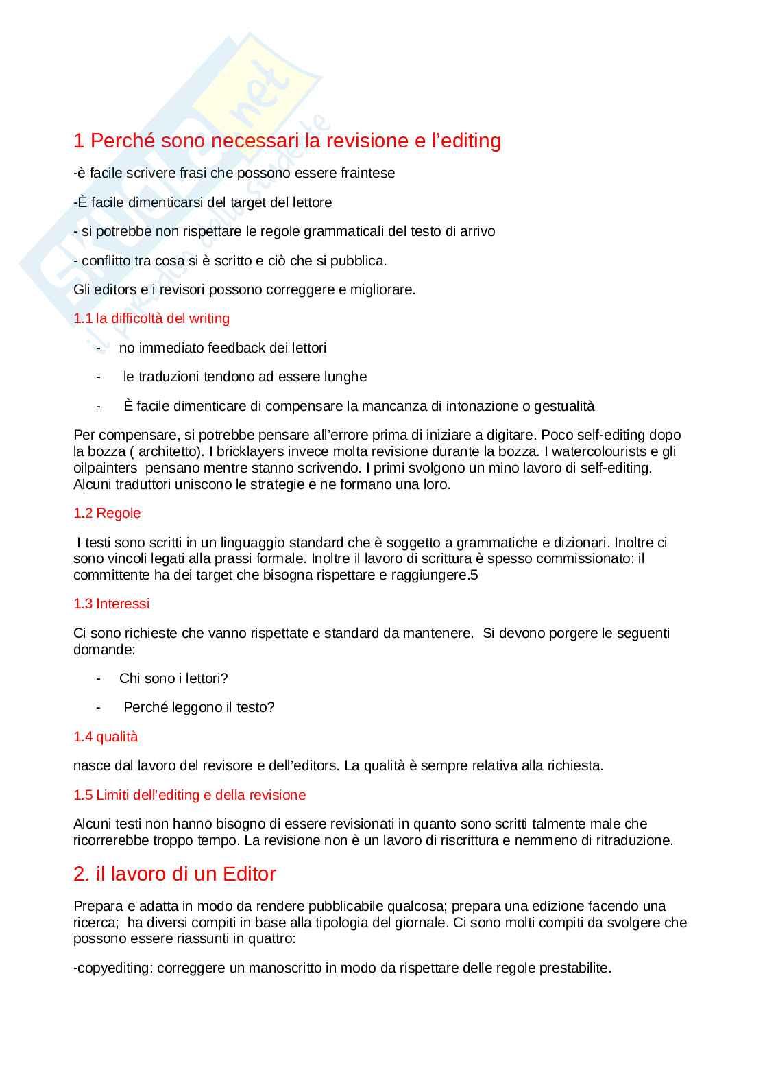 Riassunto esame Redazione e revisione in lingua italiana, prof. Pizzoli, libro consigliato Revising and editing for translators, Mossop