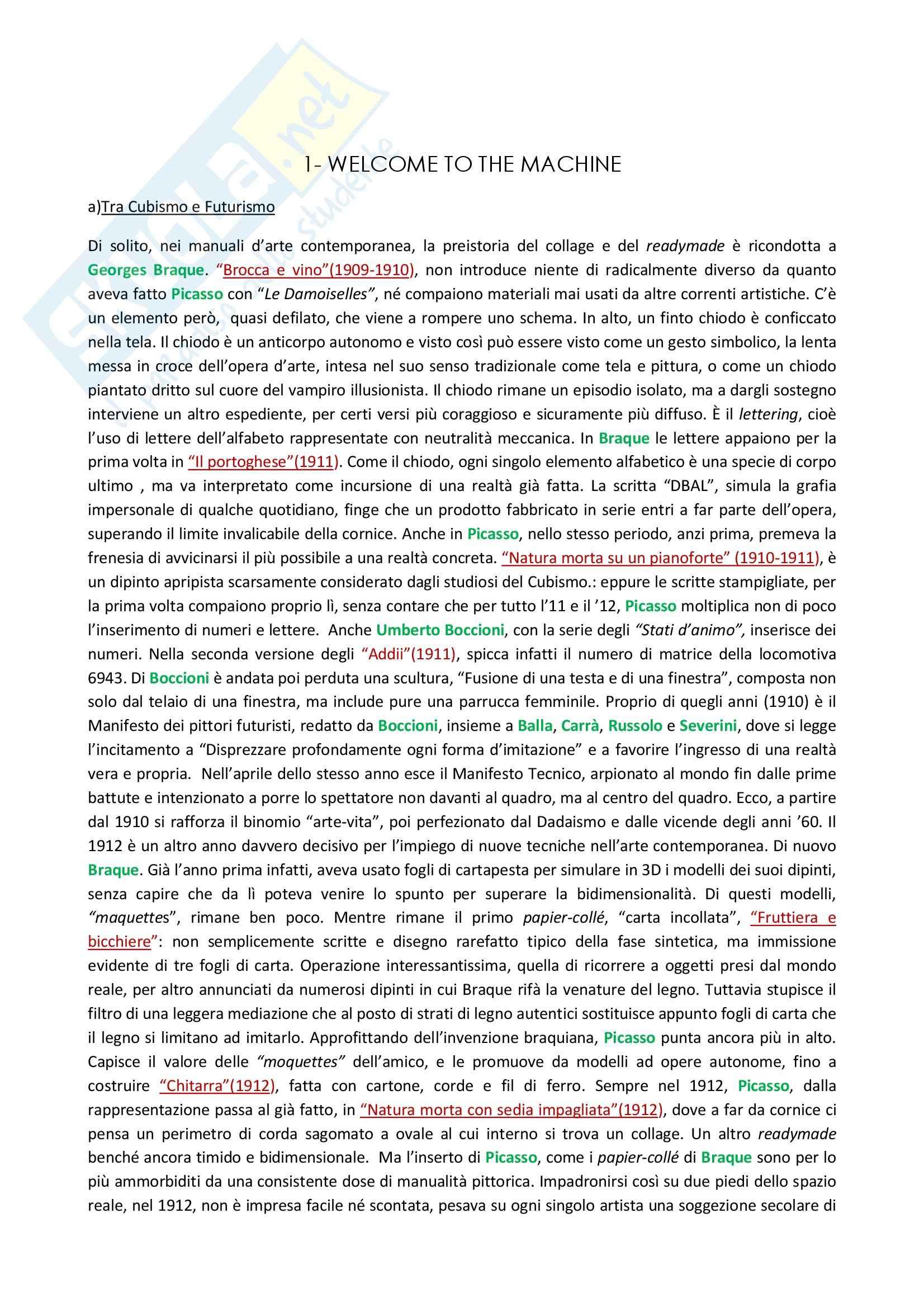Riassunto esame storia dell'arte, prof. Gallo, libro consigliato Storia dell'arte contemporanea, Fabbri