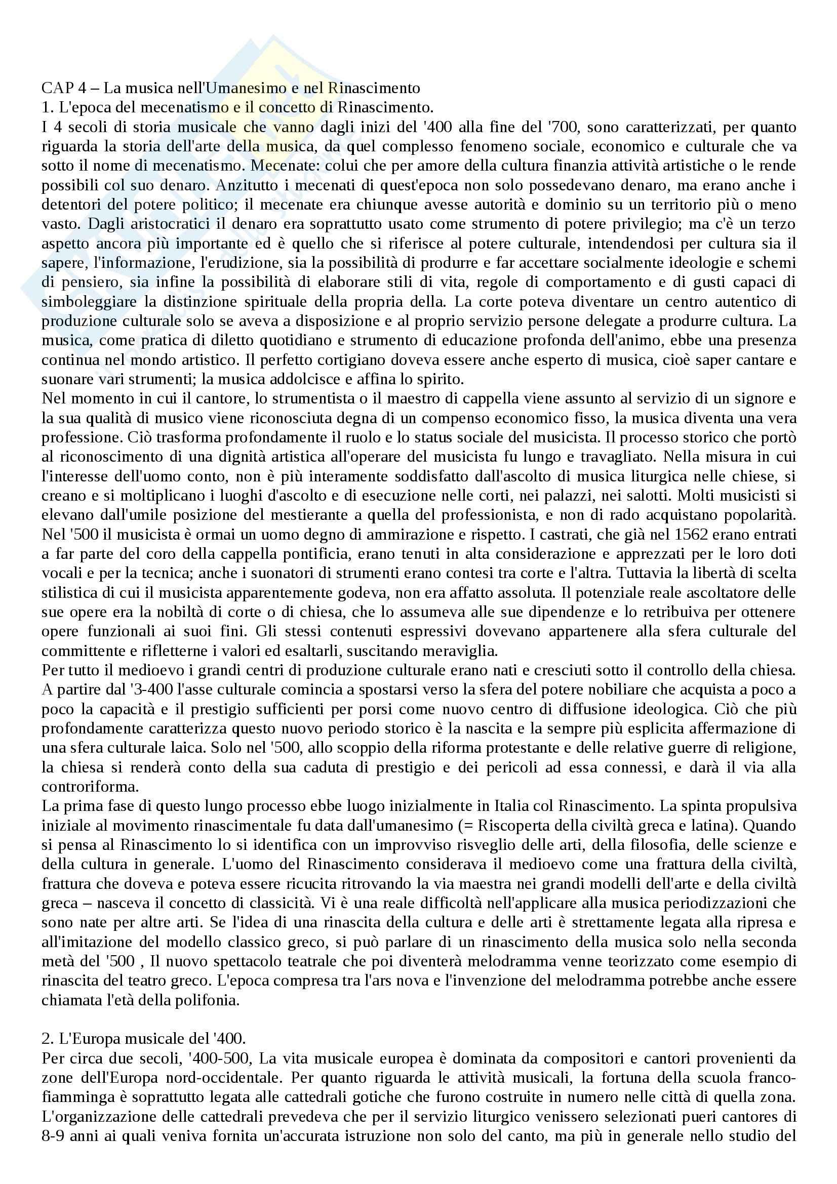 Riassunto esame Storia della musica, prof. De Carlo, libro consigliato Storia della musica, Baroni, Fubini, Petazzi, Santi, Vinay