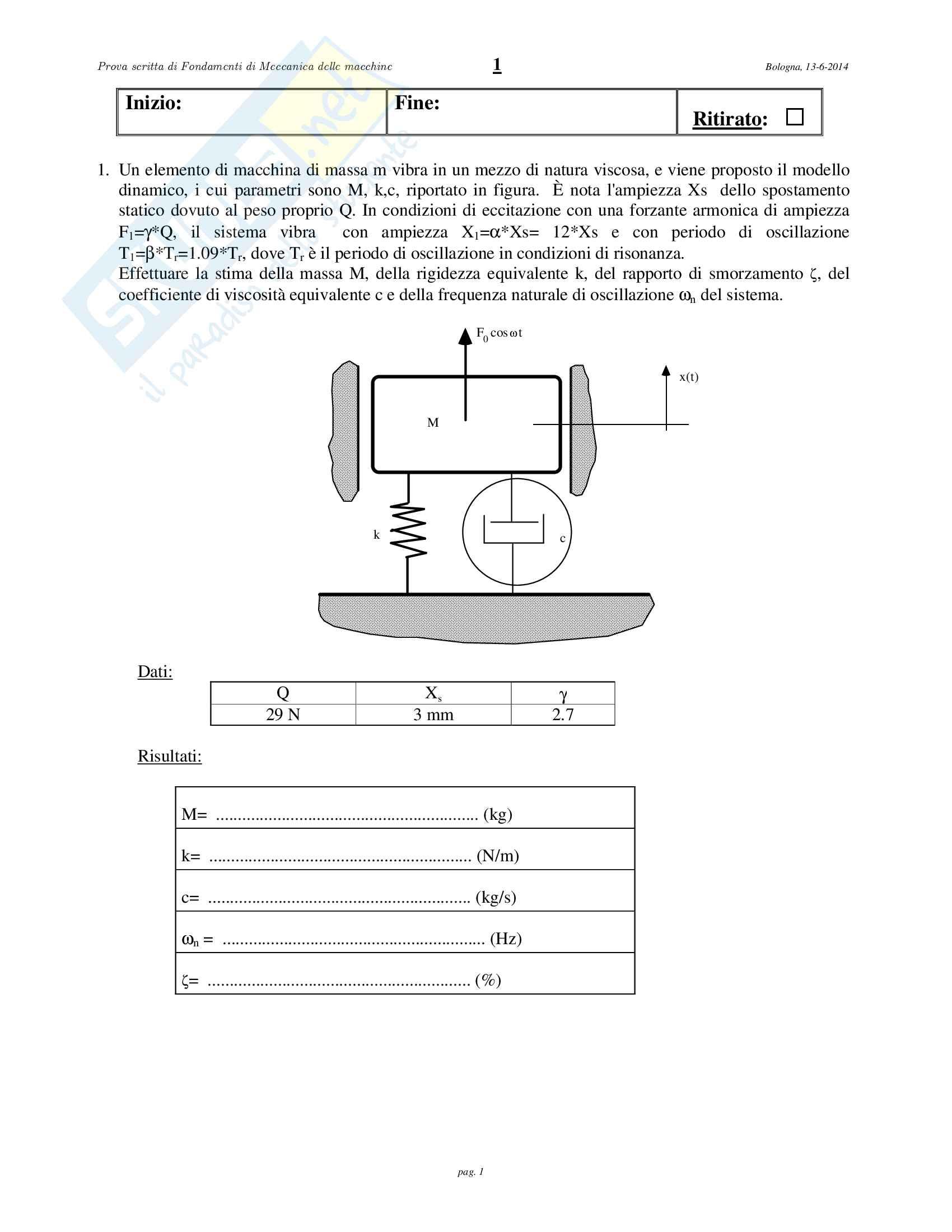 3 esami prof Catania Meccanica applicata alle macchine Pag. 1