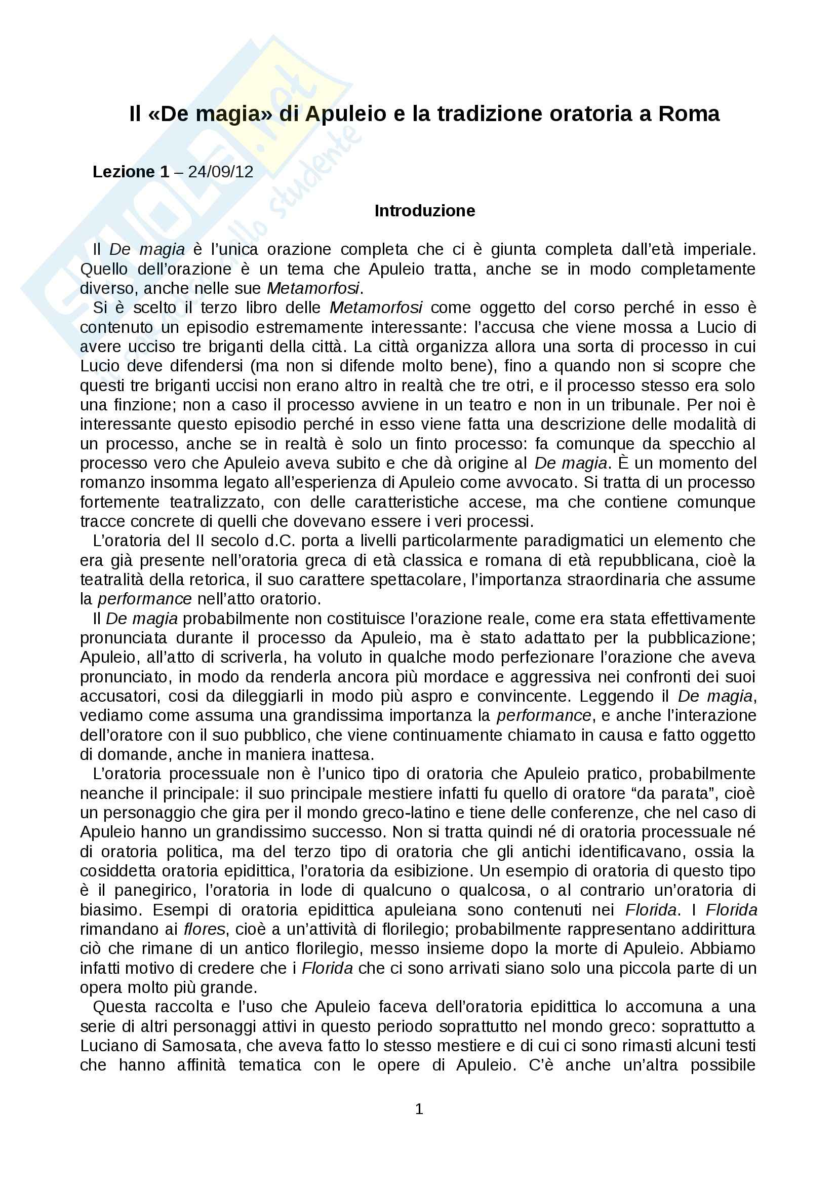 Il «De magia» di Apuleio e la tradizione oratoria a Roma, tradotto e commentato
