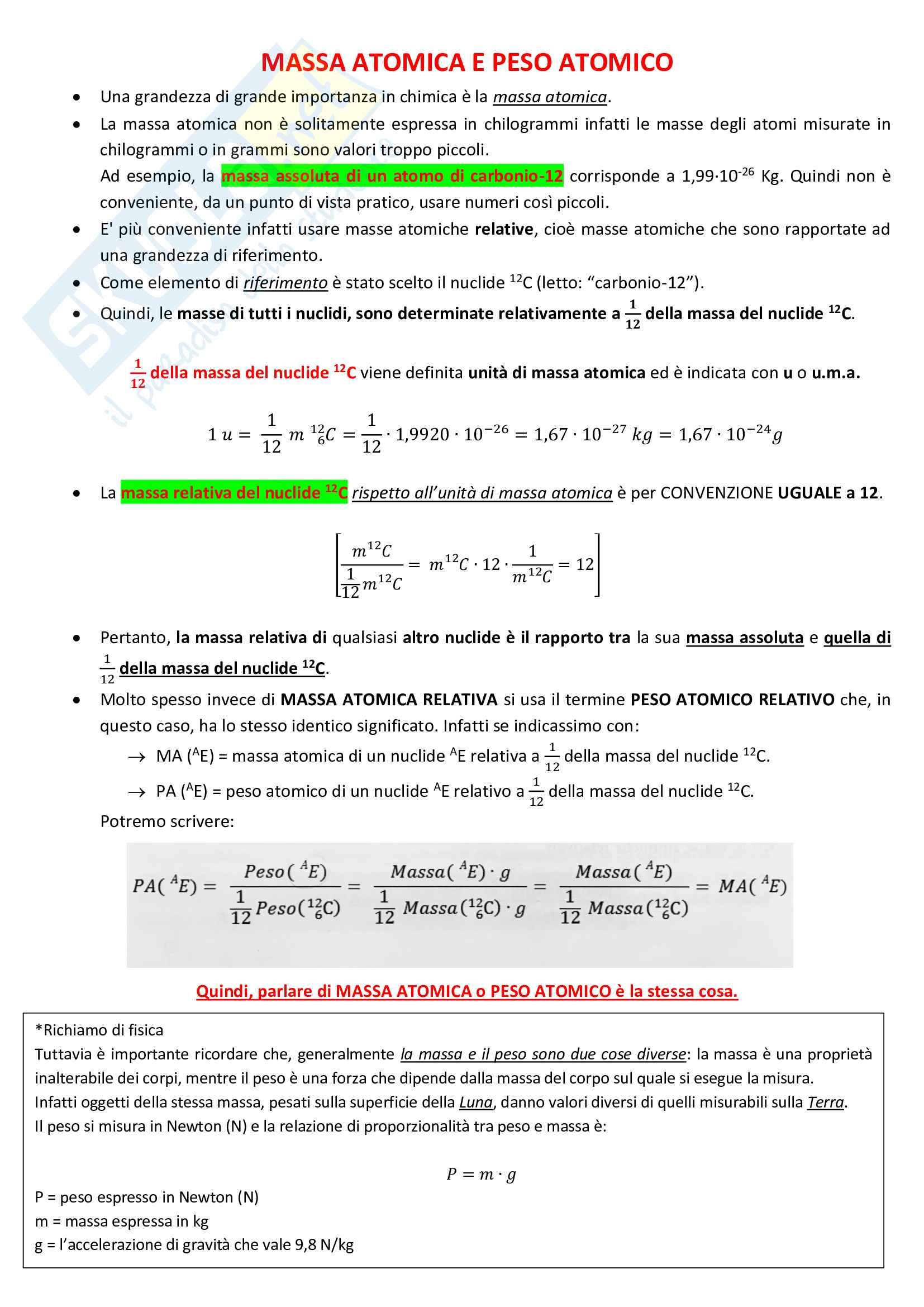 2) Massa/peso atomica/o, peso molecolare, concetto di mole e massa molare