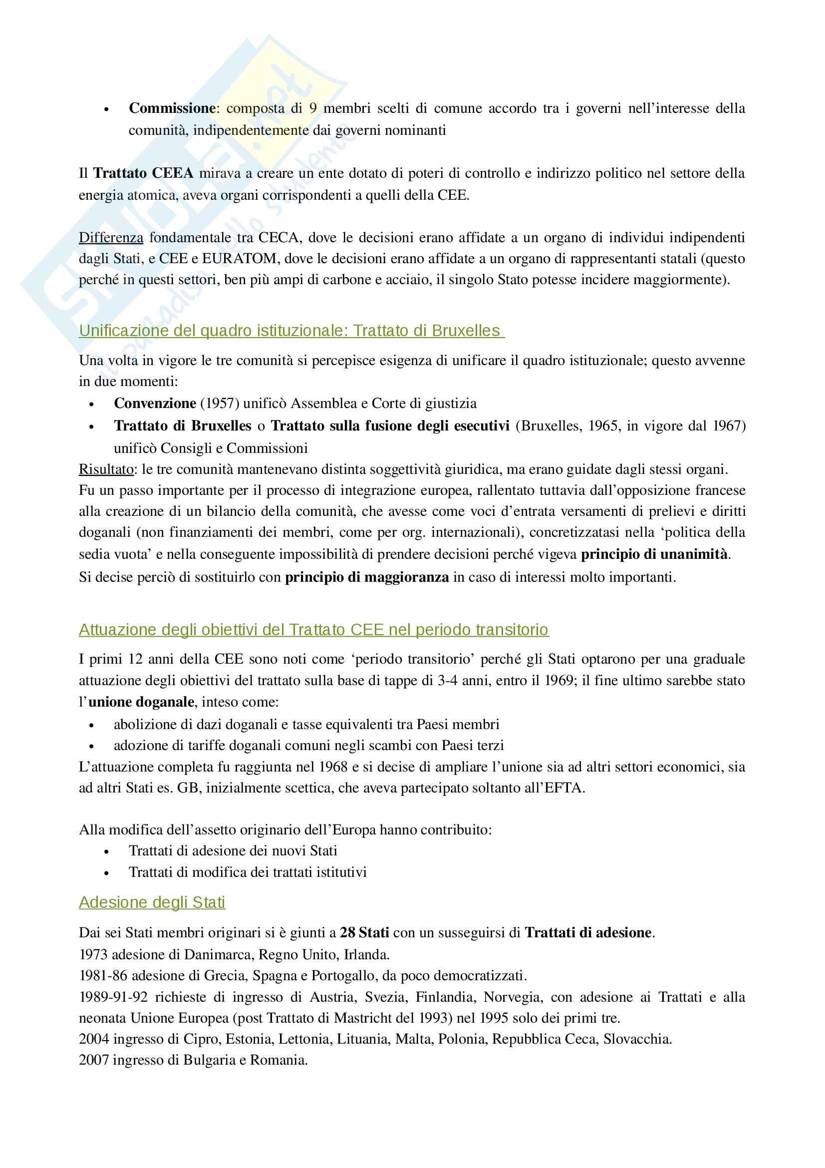 Riassunto esame Diritto Unione Europea, prof. Porro, libro consigliato Manuale breve di diritto europeo, Calamia Pag. 2