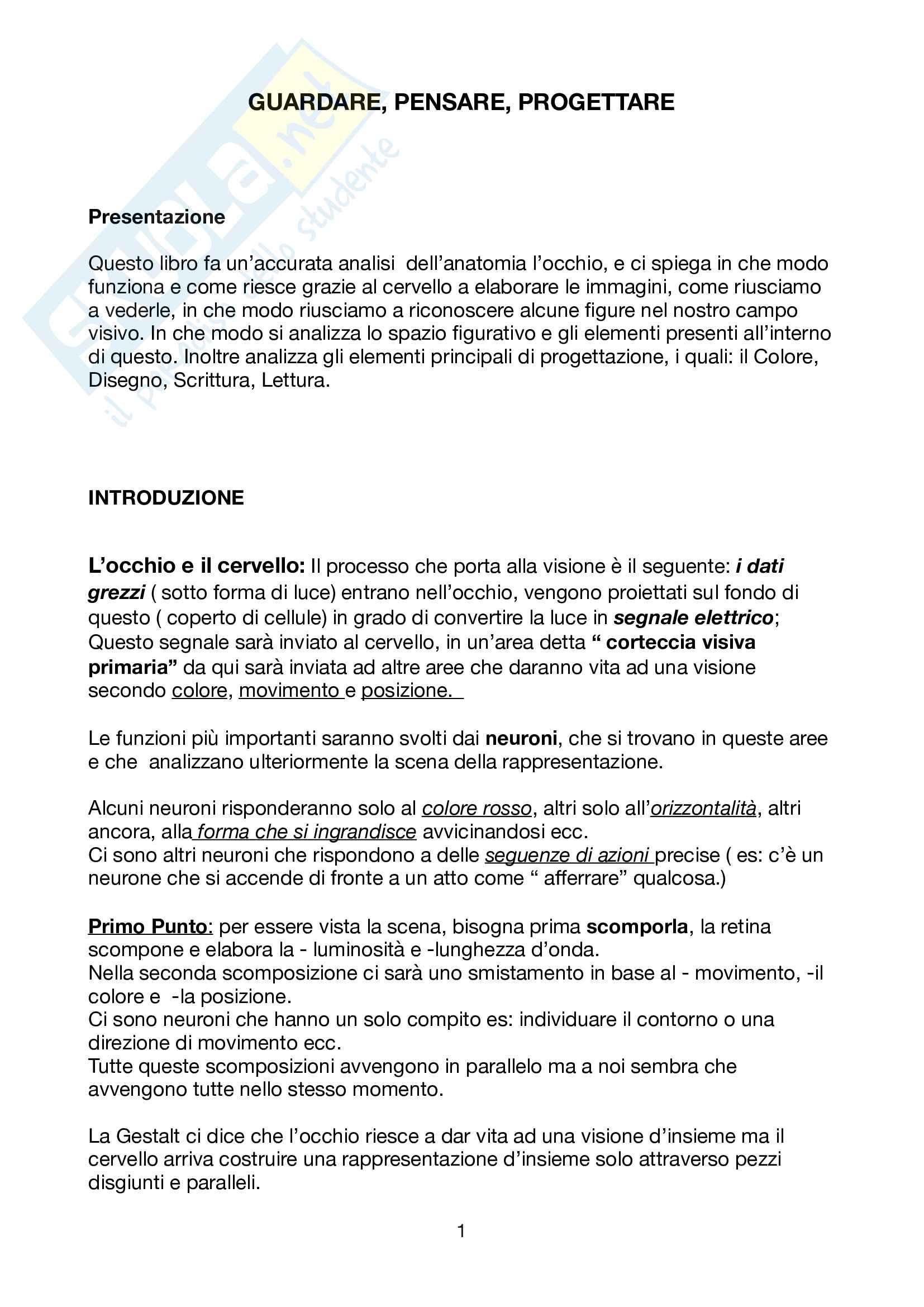 Riassunto esame design, prof.Lo Curzio, libro consigliato Guardare, pensare, progettare, Neuroscienze per il design, Falcinelli