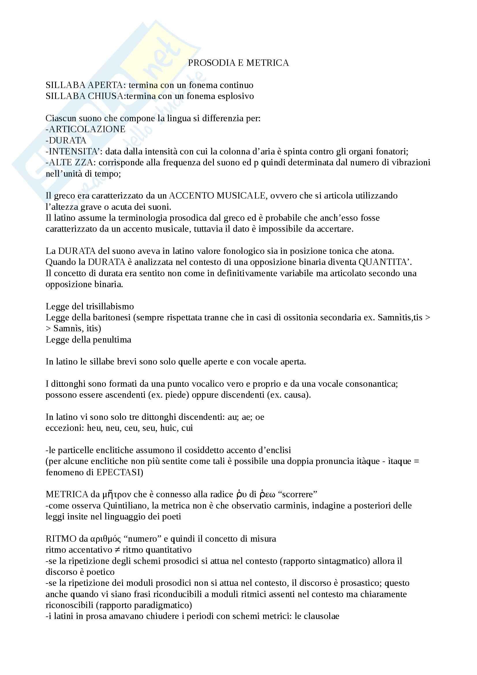 Lingua e letteratura latina I - prosodia e metrica latina