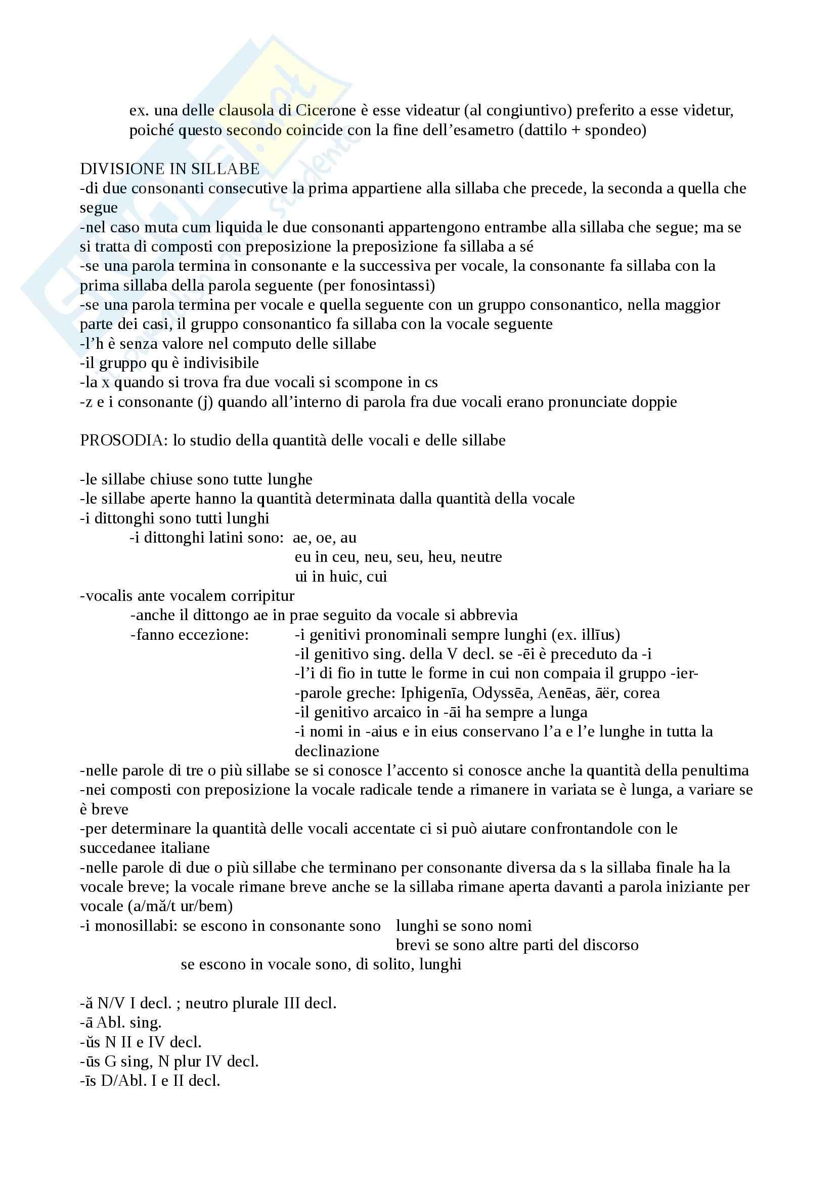 Lingua e letteratura latina I - prosodia e metrica latina Pag. 2
