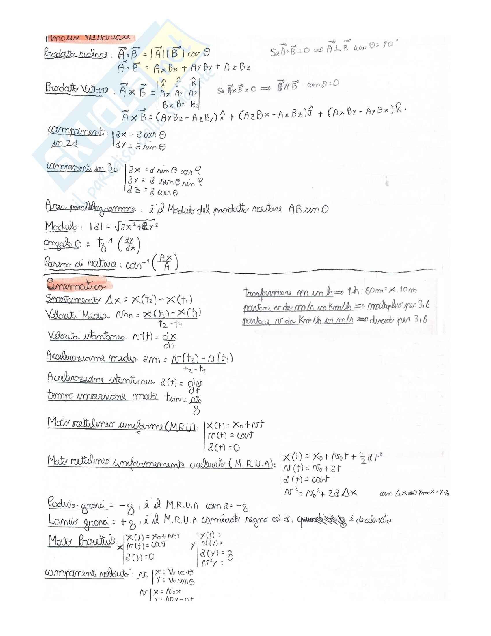Formulario fisica 1 e fisica 2 dettagliato