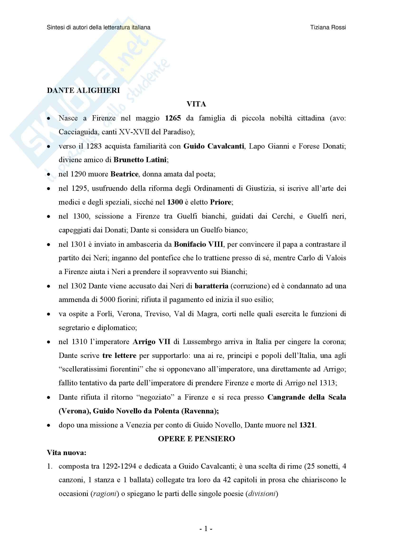 Letteratura Italiana - Riassunto esame