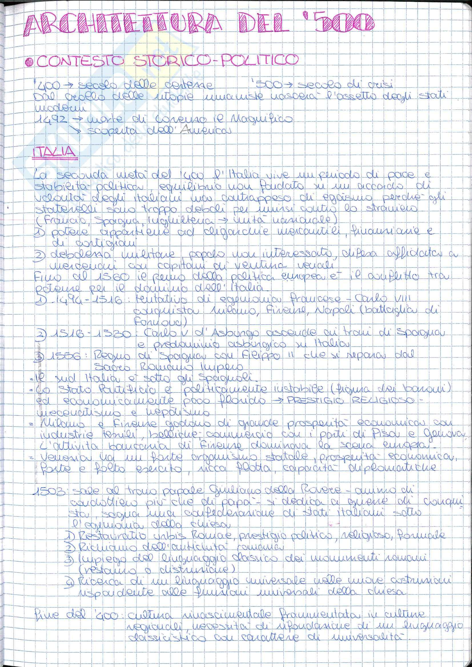 Riassunto esame Storia dell' Architettura ed Estetica, prof. Lerza, libro consigliato Architettura in Italia 1500-1600, W Lotz