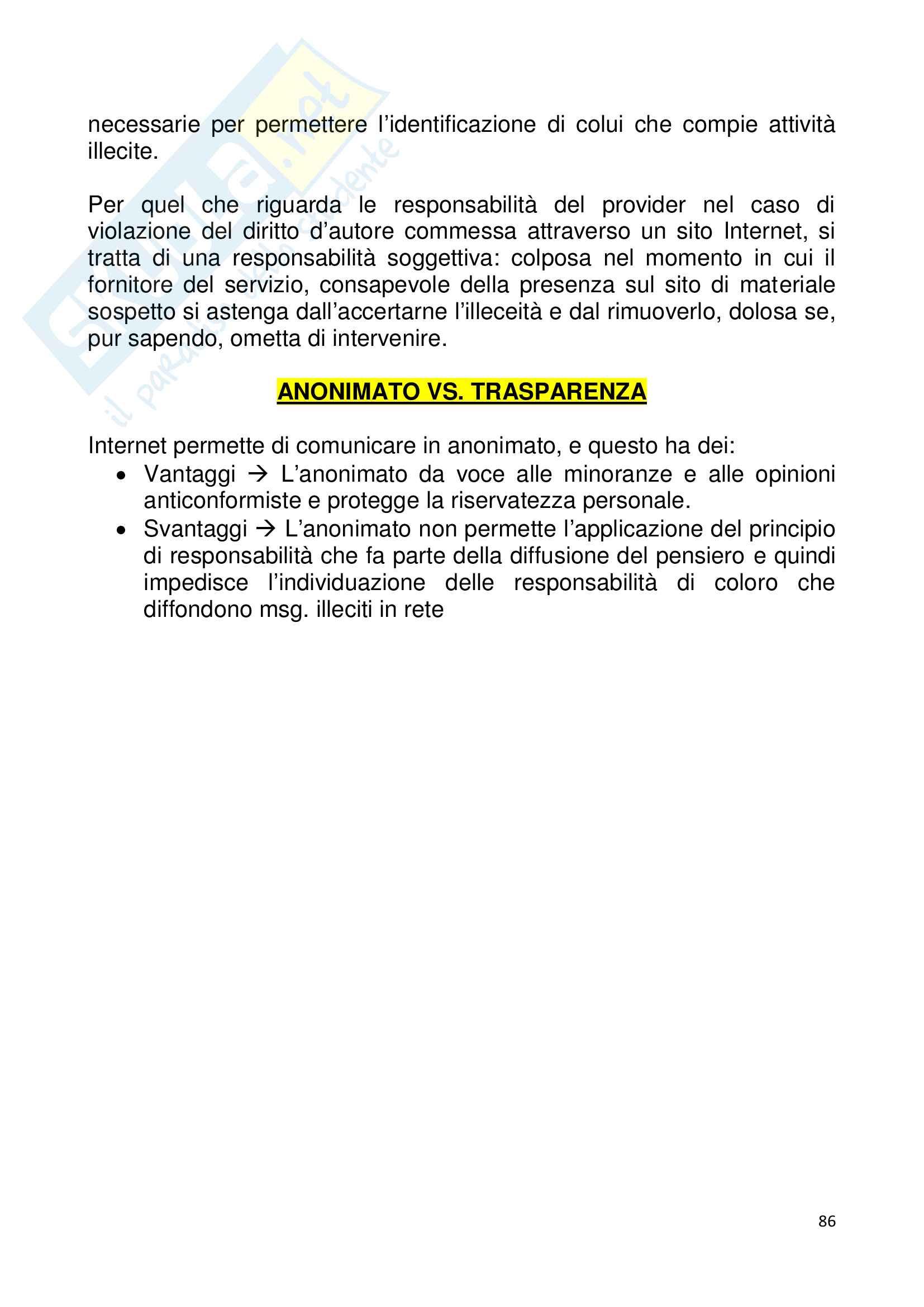 Riassunto esame Istituzioni di diritto pubblico. Diritto dell'informazione e della comunicazione., prof. Caporale, libro consigliato Le regole dell informazione. Dal cartaceo al bit. (III edizione), Gardini Pag. 86