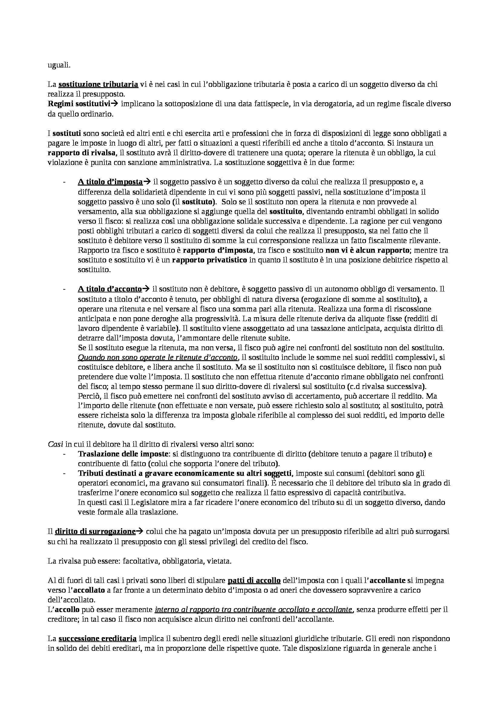 Riassunto esame Diritto tributario, prof. Contrino, libro consigliato Compendio di Diritto Tributario, Tesauro Pag. 6