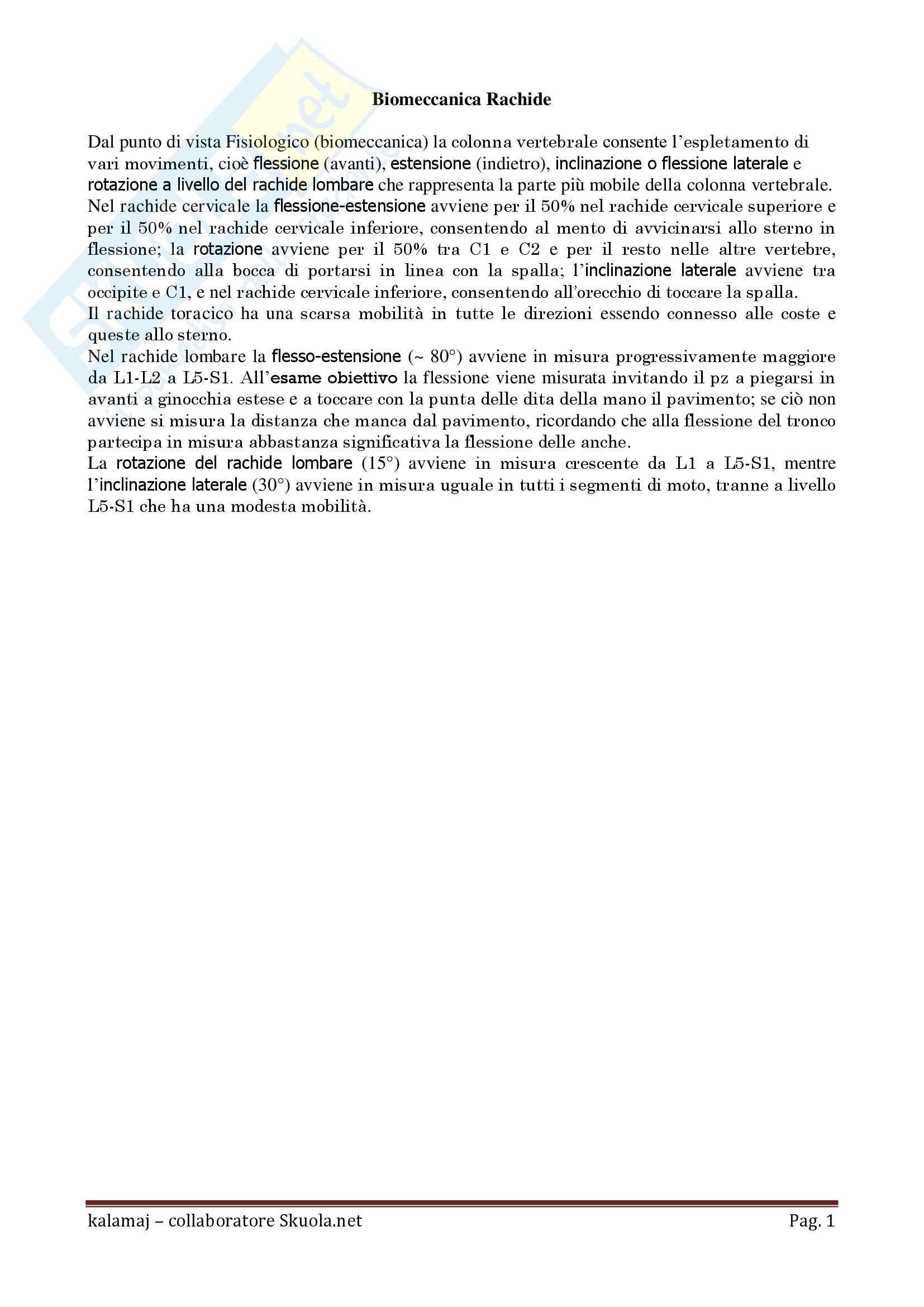 Anatomia umana - Biomeccanica Rachide