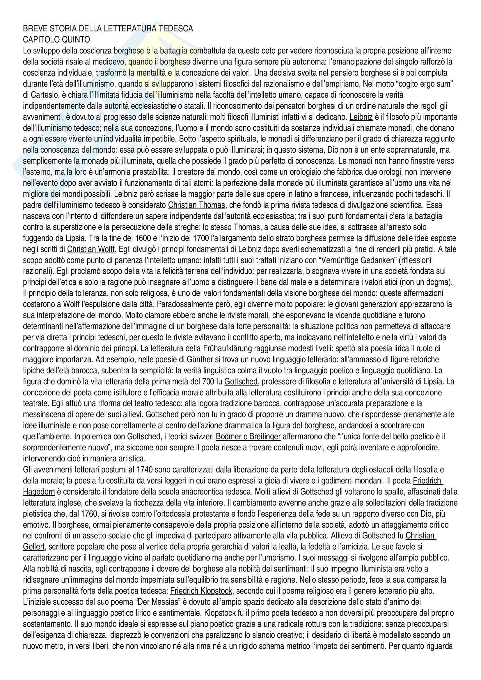 Riassunto esame Letteratura tedesca, prof. Gallo, libro consigliato Breve storia della letteratura tedesca, Zmegac, Skreb, Zekulic
