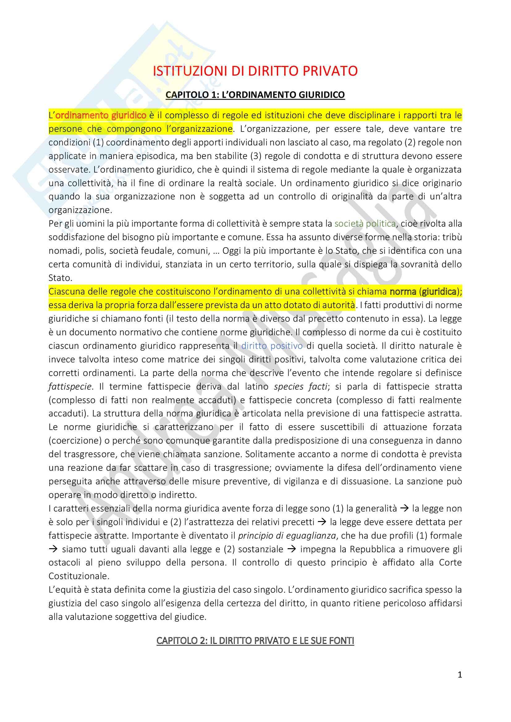 Riassunto Esame Istituzioni di Diritto Privato (Economia), prof. Schiavone