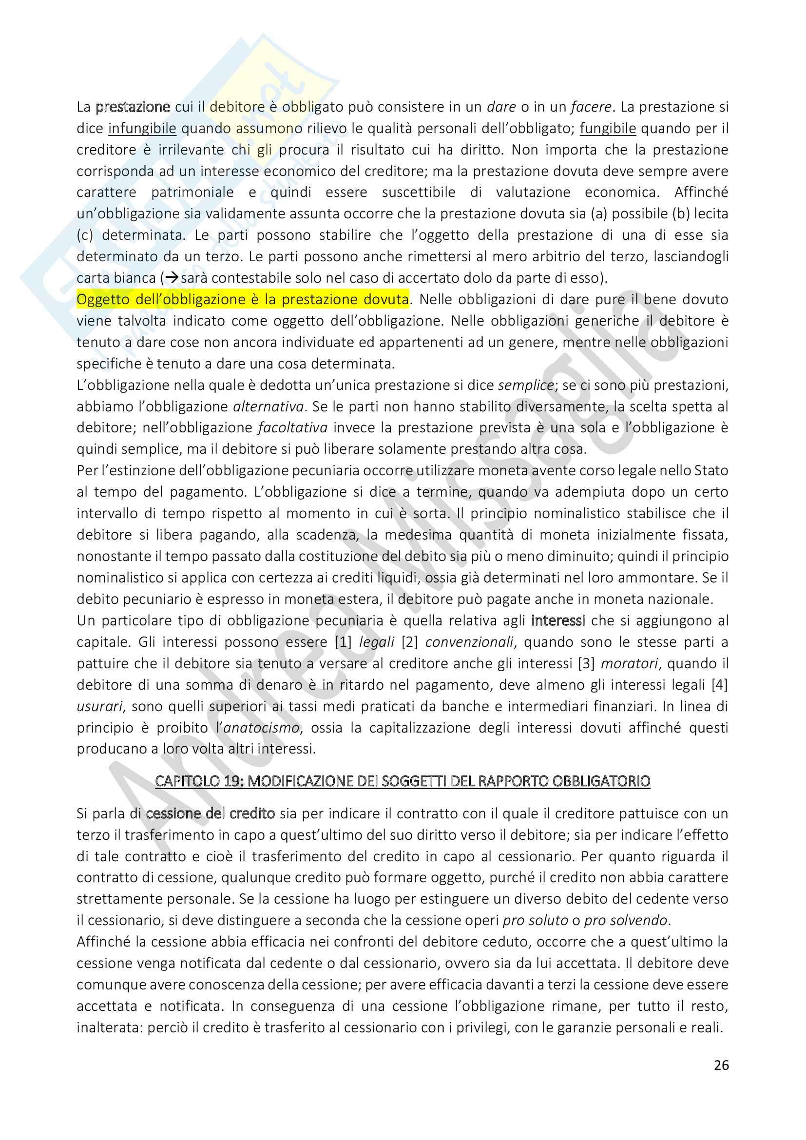Riassunto Esame Istituzioni di Diritto Privato (Economia), prof. Schiavone Pag. 26