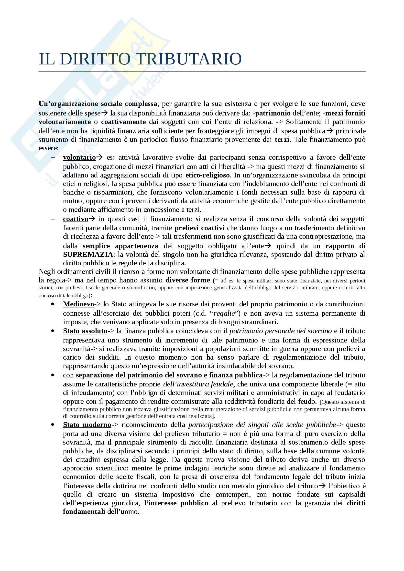 Riassunto esame Diritto tributario, prof. Tinelli, libro consigliato Istituzioni di diritto tributario di Tinelli - parte generale