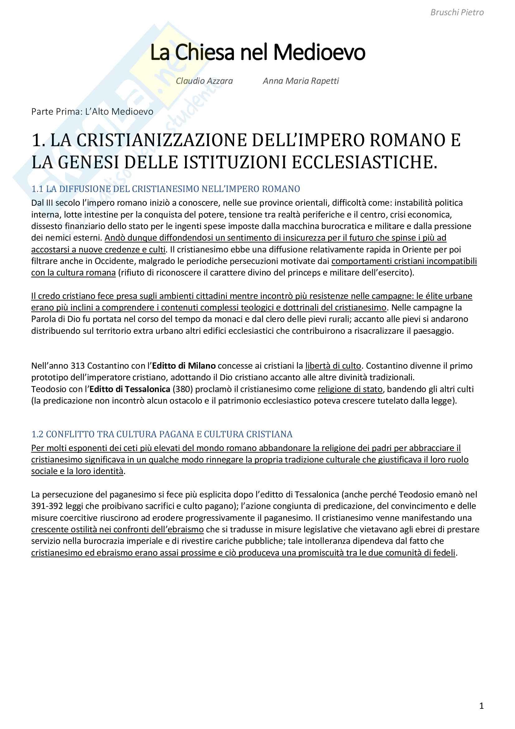 Riassunto esame Storia Medievale, prof. Zorzi, libro consigliato La chiesa nel Medioevo, Azzara e Rapetti