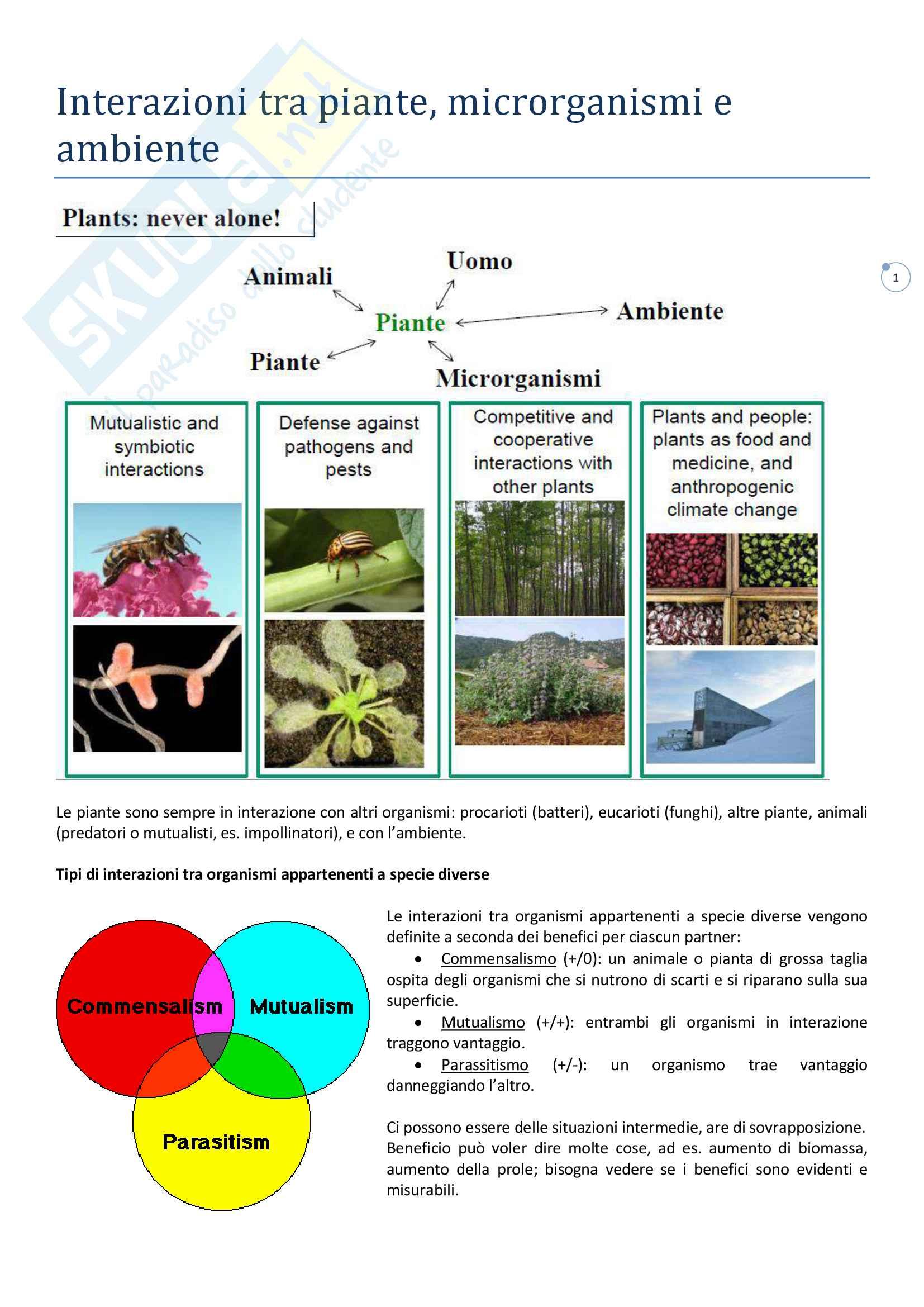 Interazioni tra piante microrganismi e ambiente