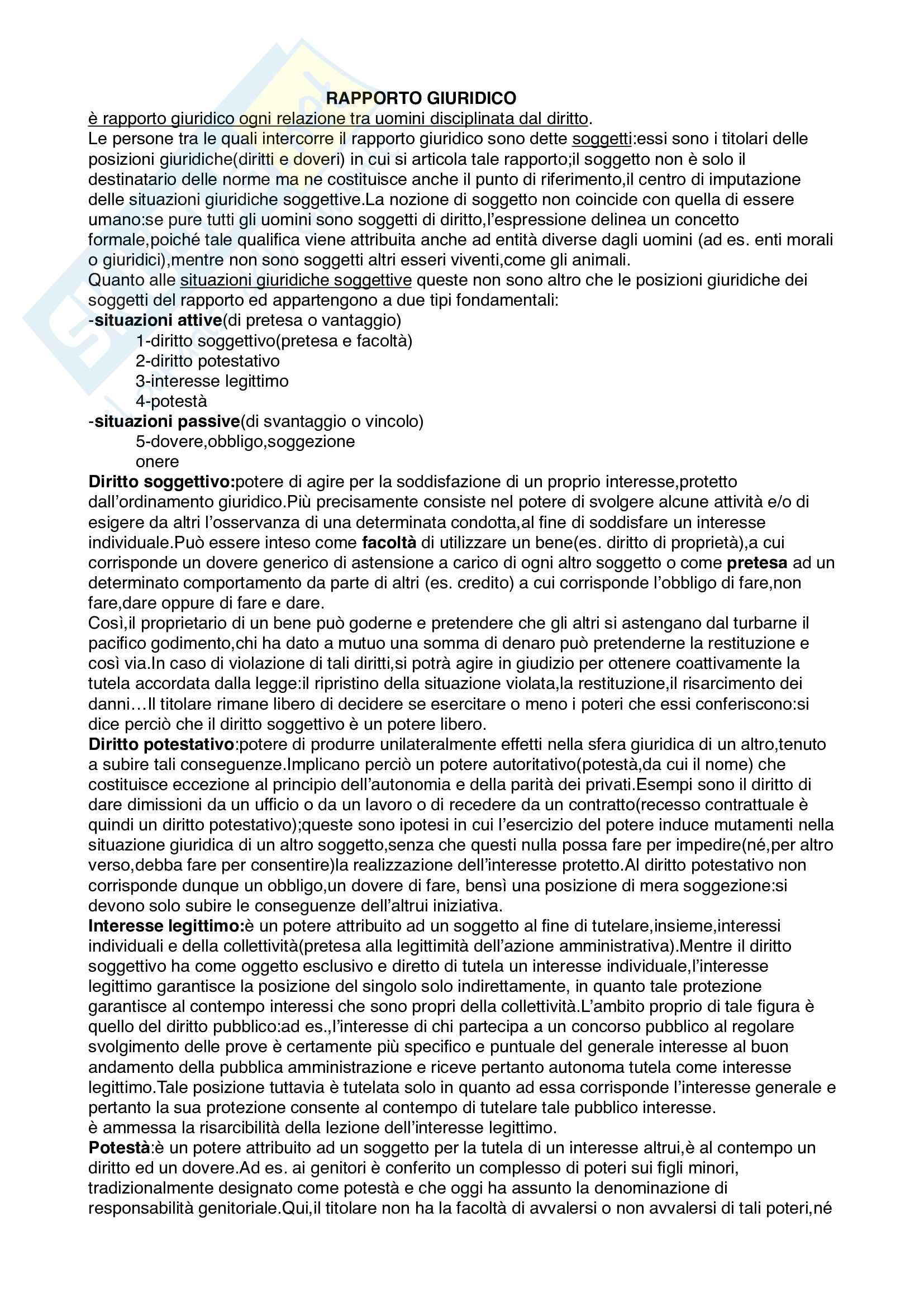 Riassunti Diritto privato prof. Francesco Scaglione