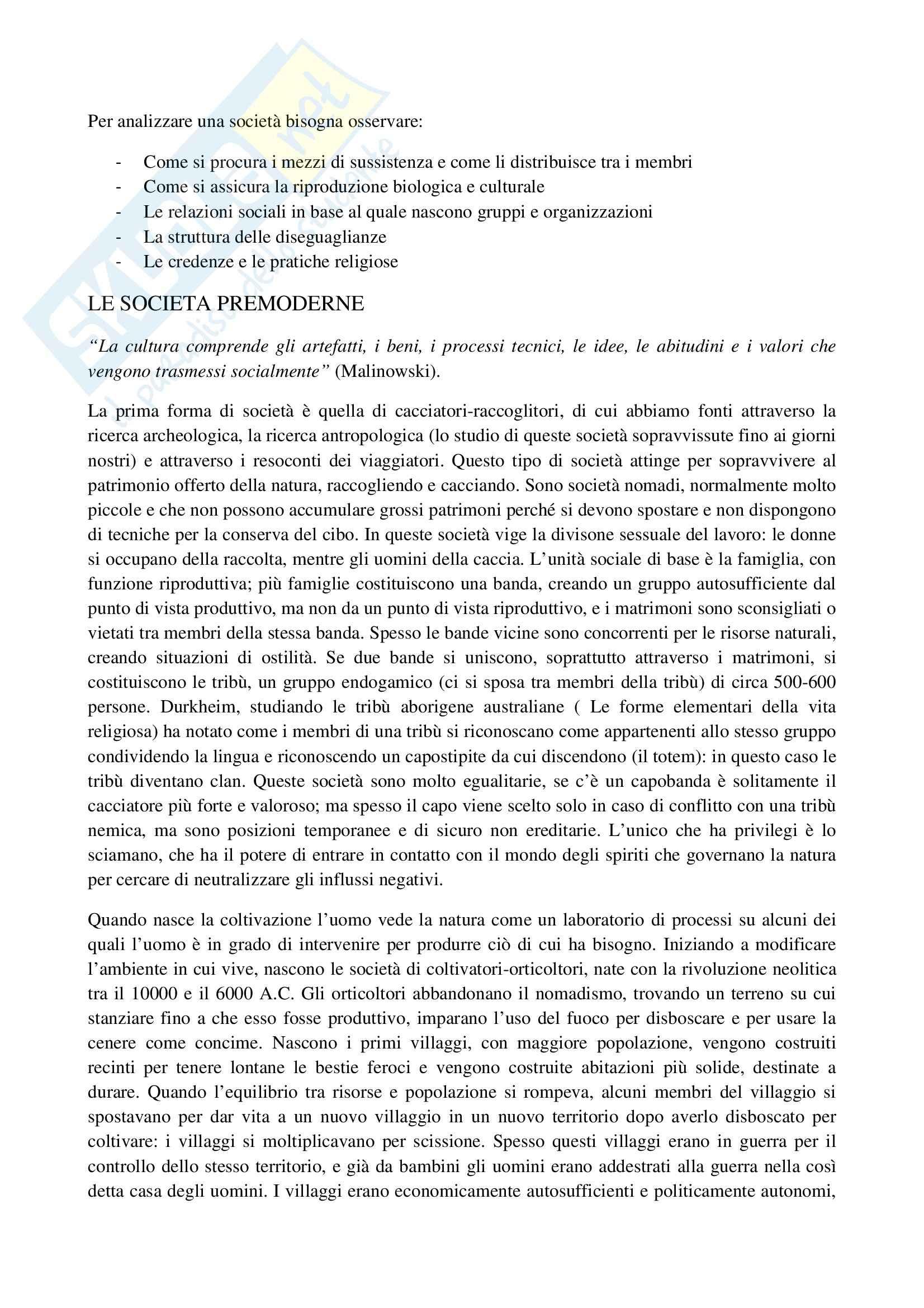 Riassunto esame Sociologia, prof. La Spina, libro consigliato Corso di sociologia, Bagnasco, Barbagli, Cavalli