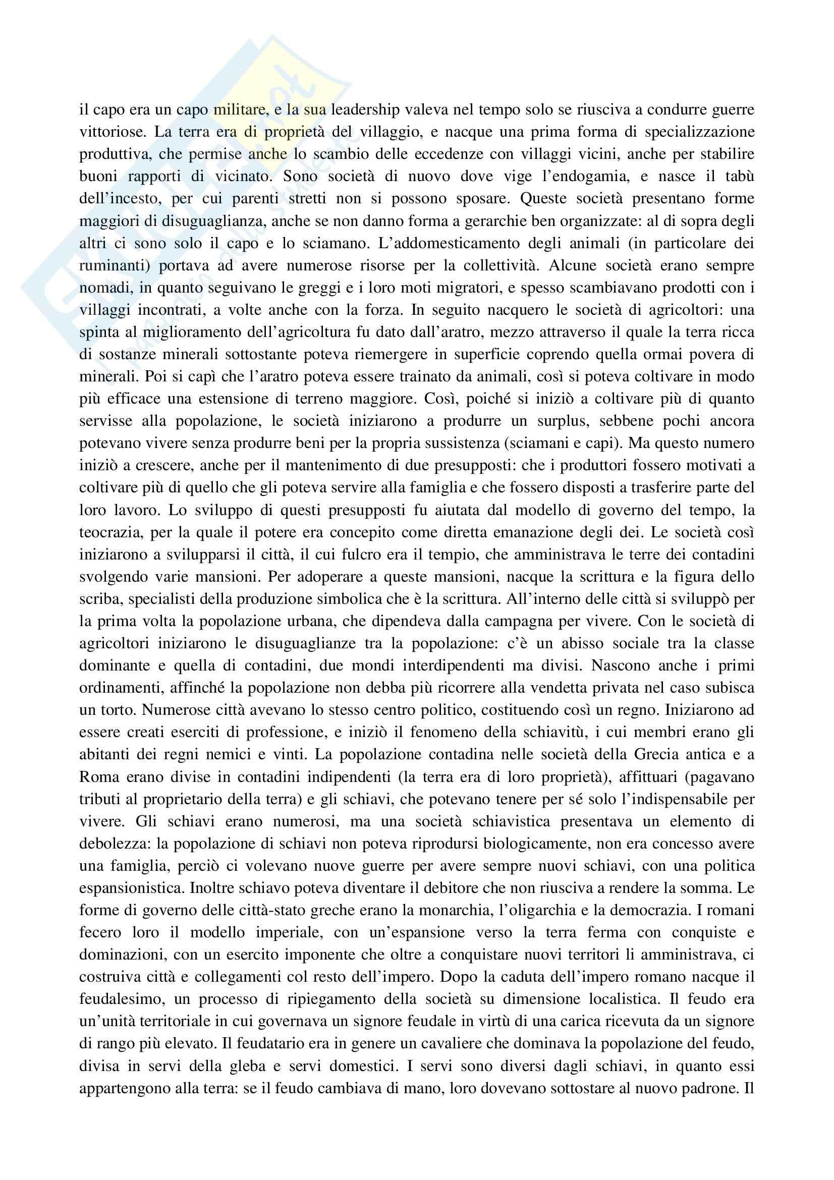 Riassunto esame Sociologia, prof. La Spina, libro consigliato Corso di sociologia, Bagnasco, Barbagli, Cavalli Pag. 2