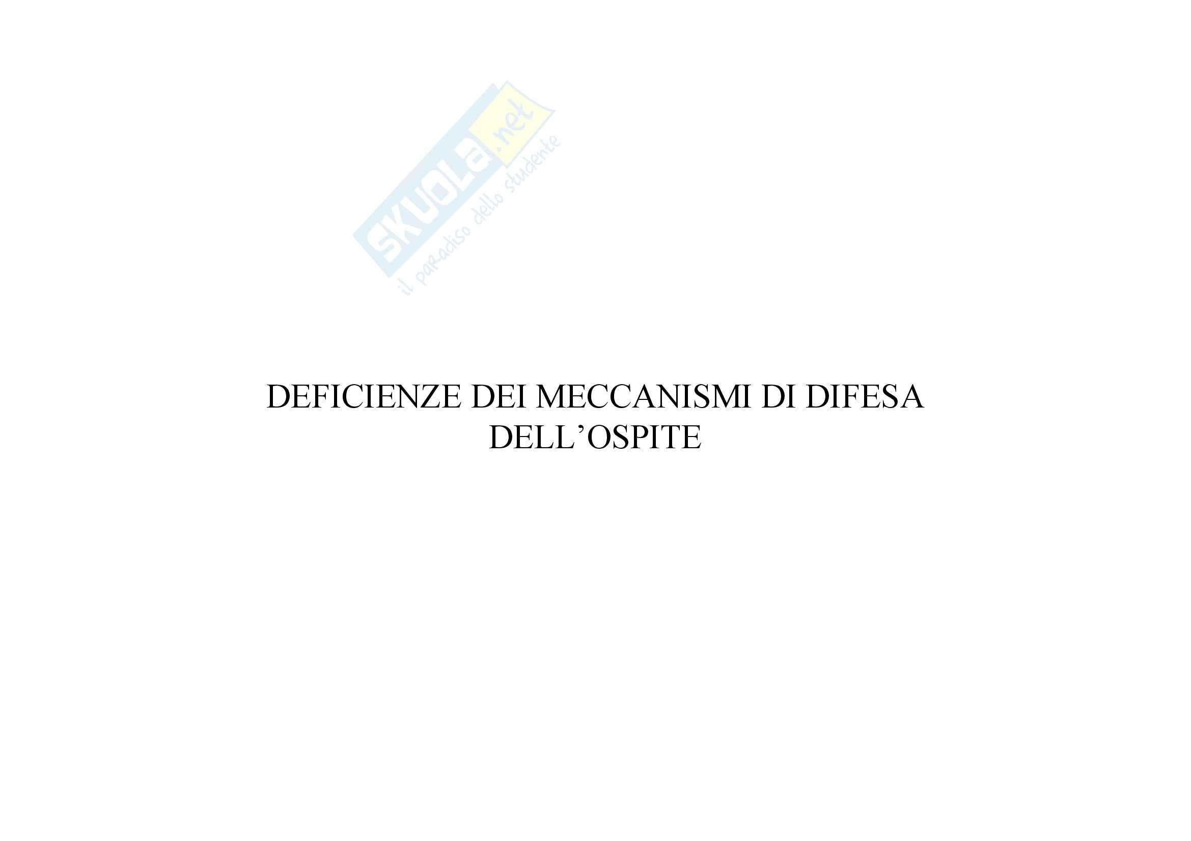 Immunologia - deficit delle difese dell'ospite