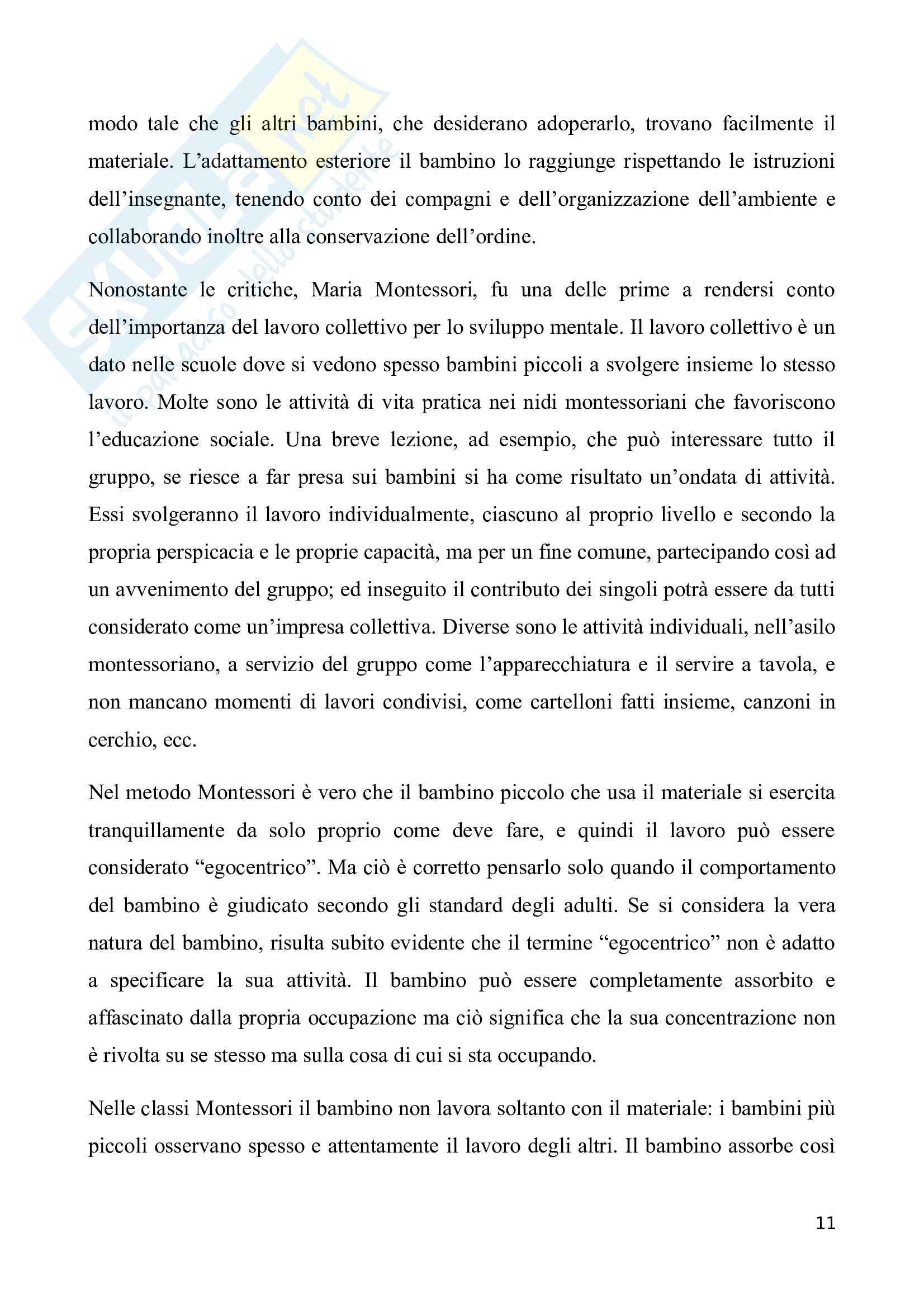 Metodo Montessori: tra individualità o collettività Pag. 11
