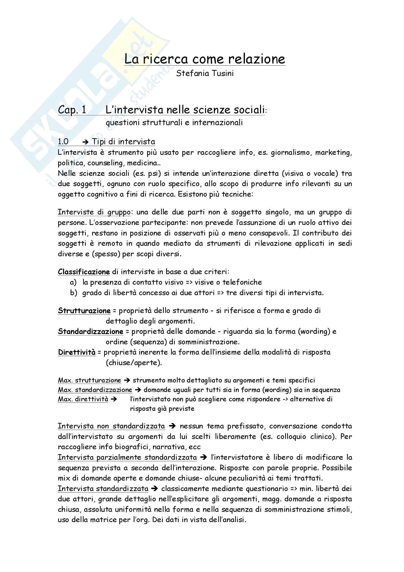 Riassunto esame Metodi e tec. dell'intervista e del questionario, docente Barni, libro consigliato  La ricerca come relazione di S. Tunisi