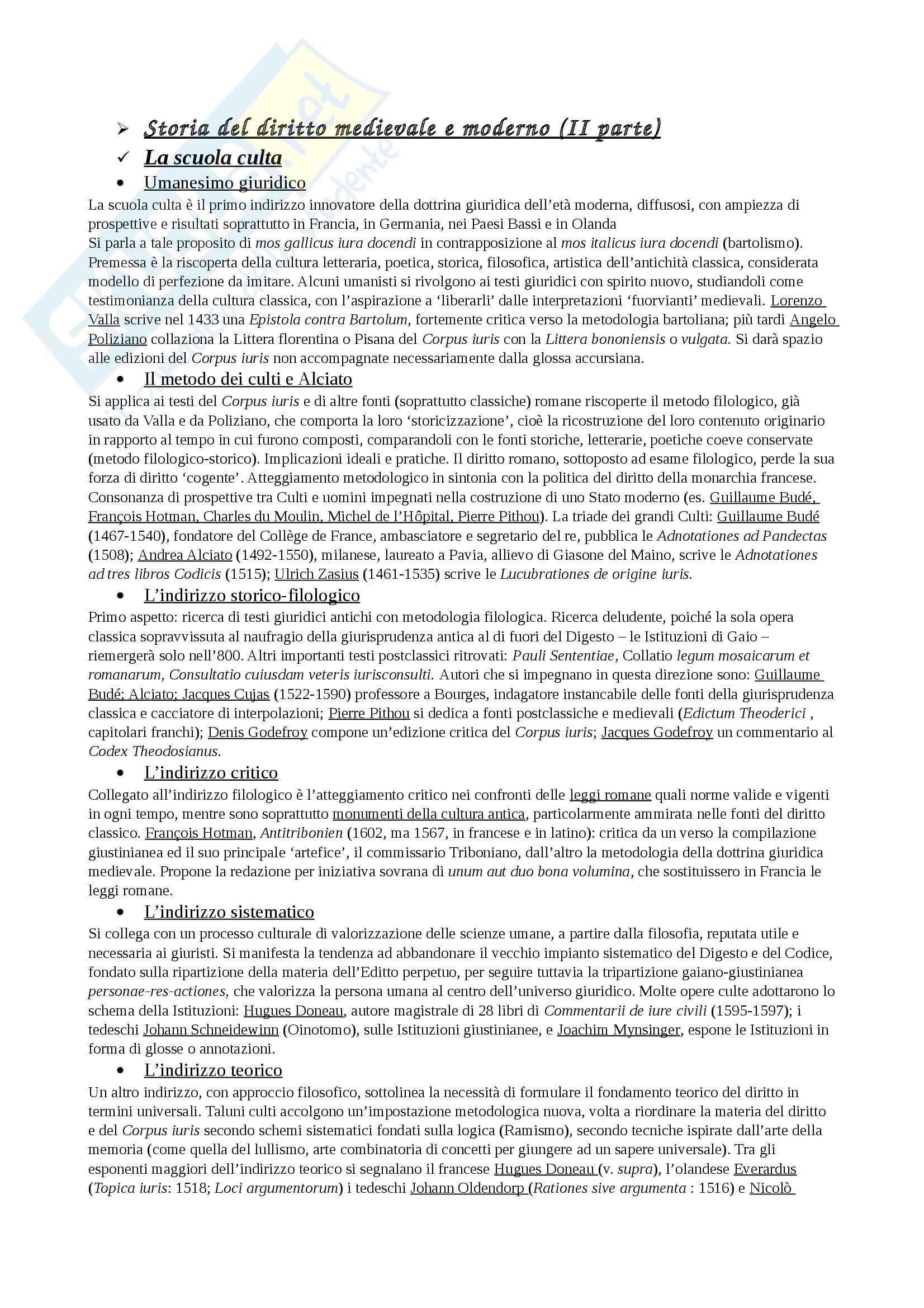 II parte, Storia del diritto medievale e moderno