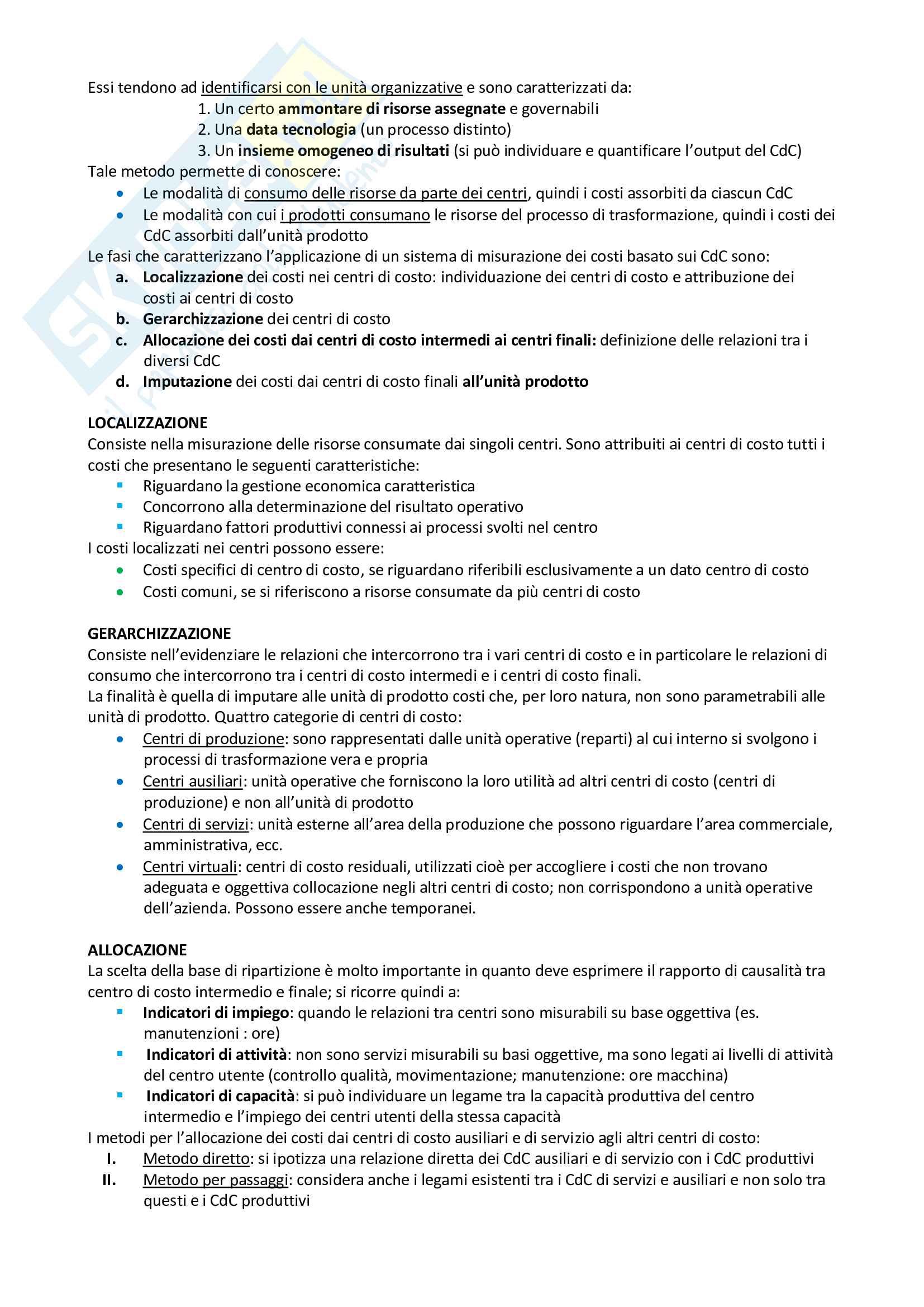 Riassunto esame Programmazione, prof. Vola, libro consigliato Programmazione e Controllo, Arcari Pag. 11