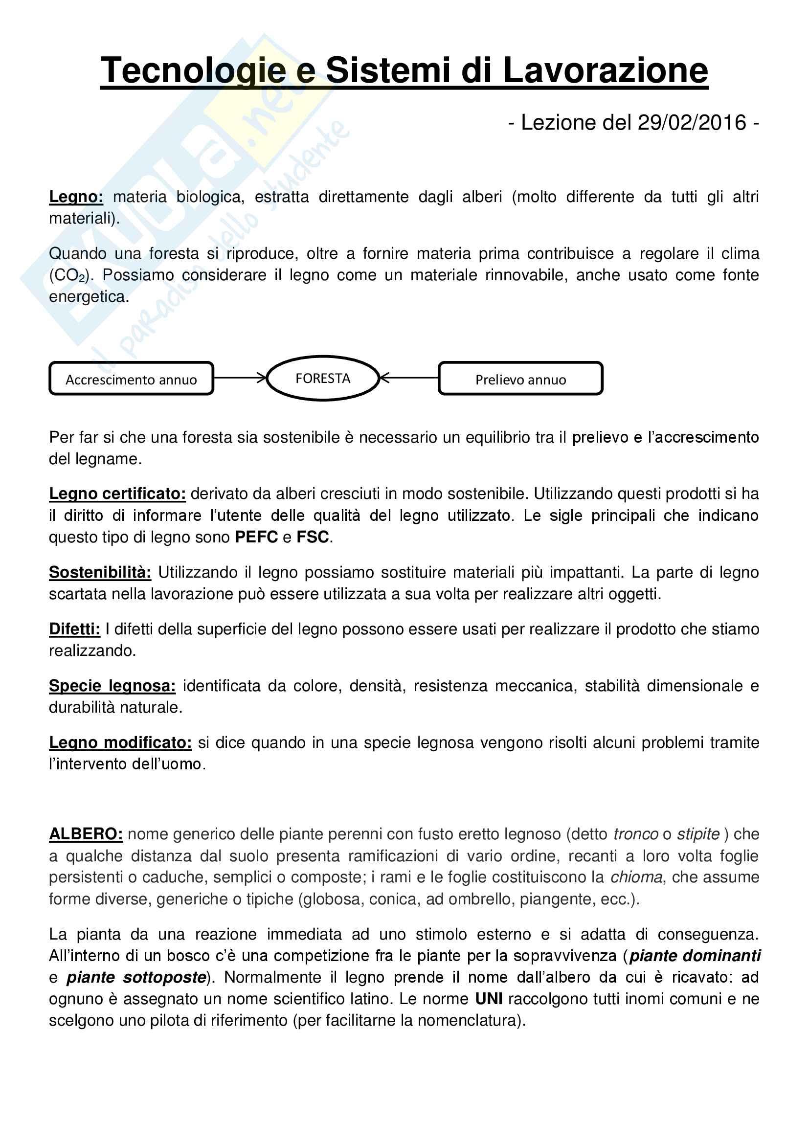 Riassunto esame Tecnologie e Sistemi di Lavorazione del Legno, prof. Fioravanti