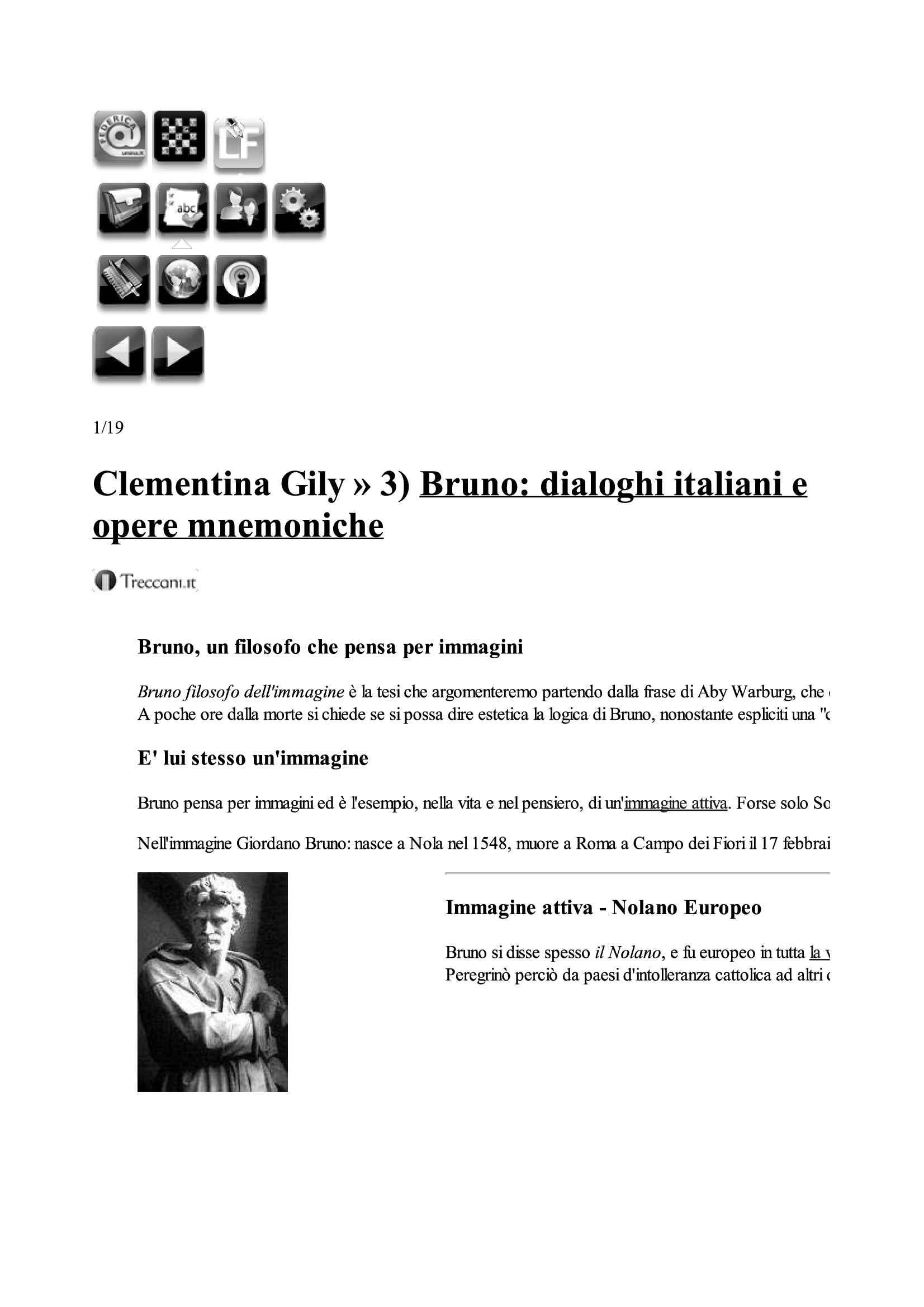 Bruno: dialoghi italiani e opere mnemoniche