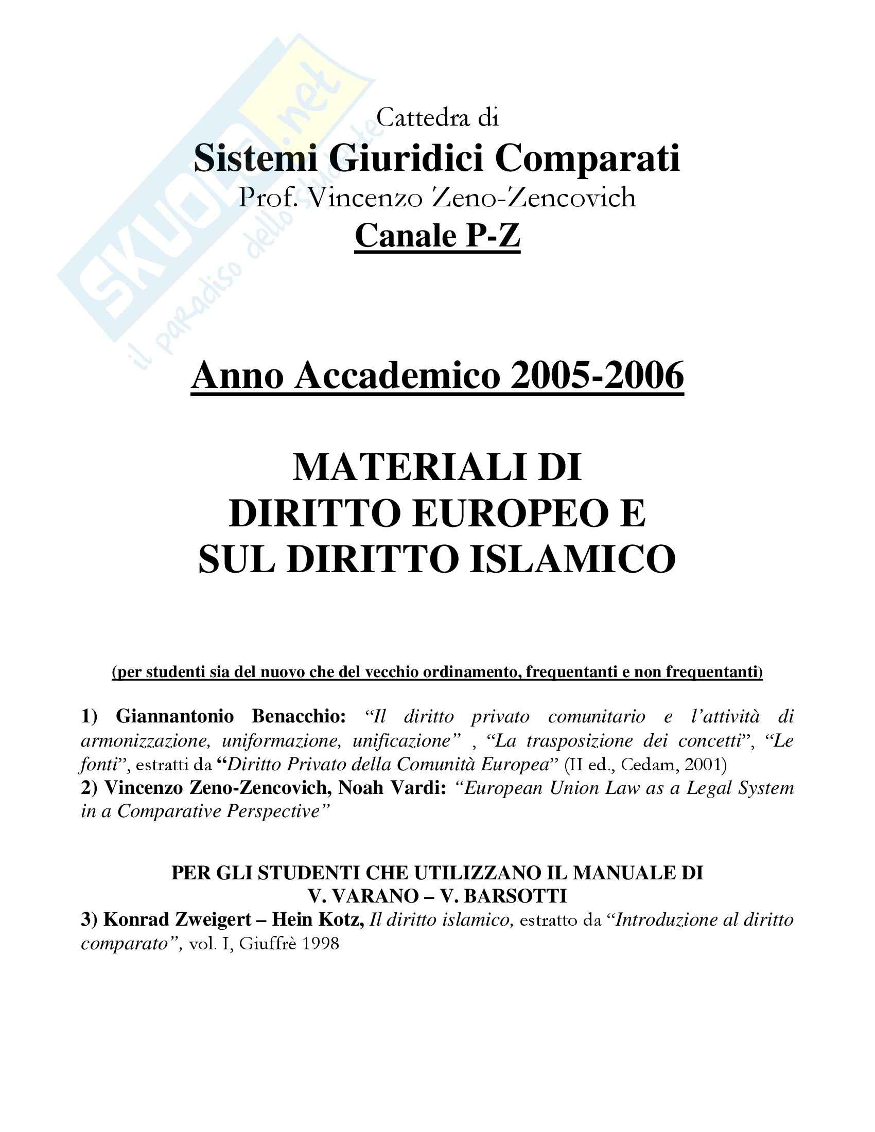 Sistemi giuridici comparati - diritto islamico