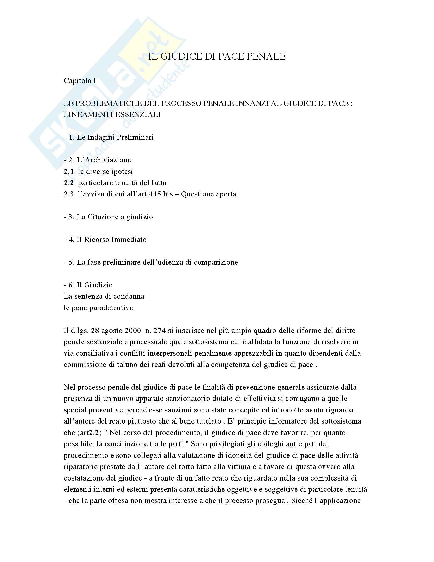 Il giudice di pace penale, Tamborini - Appunti