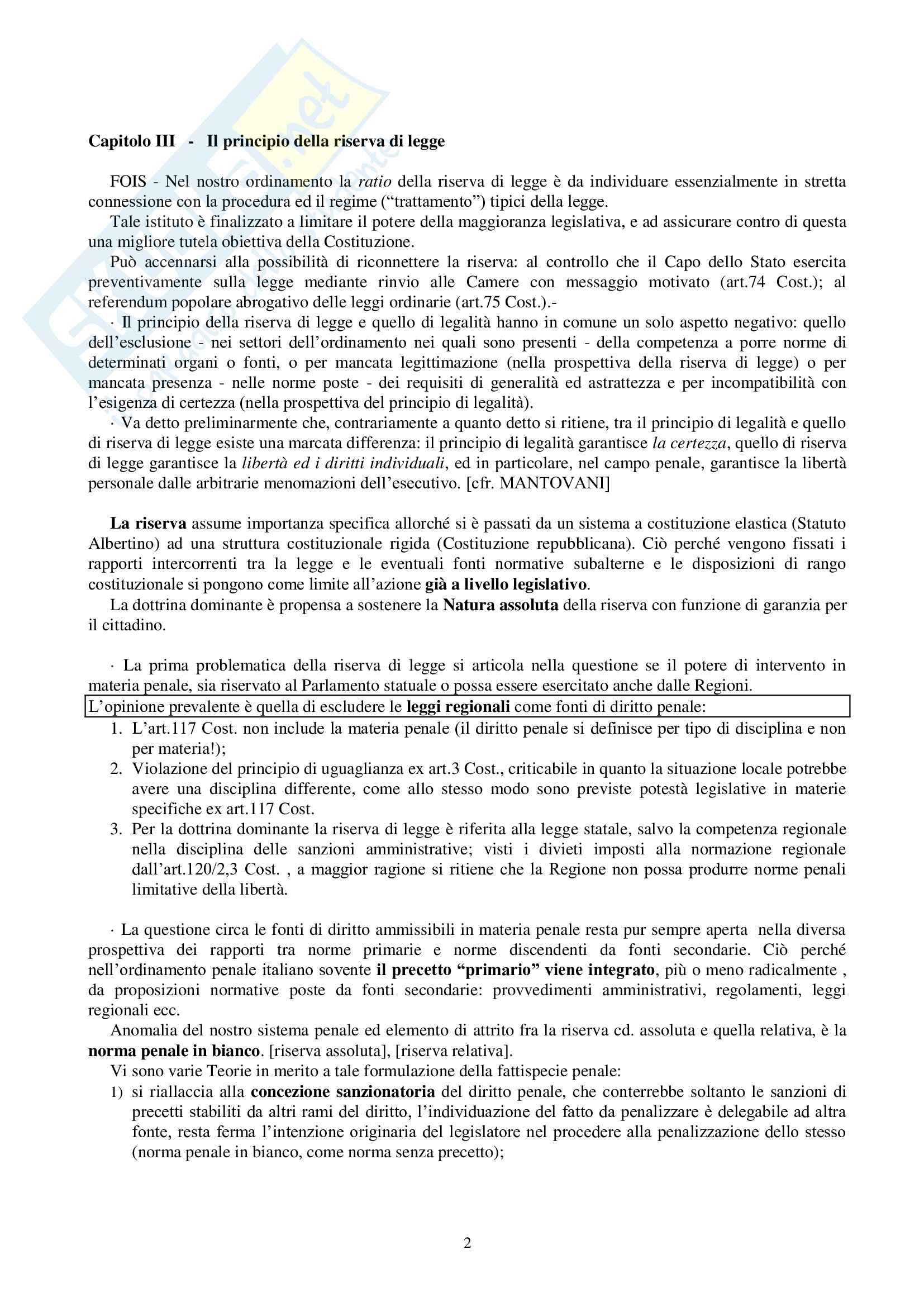 Riassunto esame Diritto Penale, prof. Mantovani Pag. 2