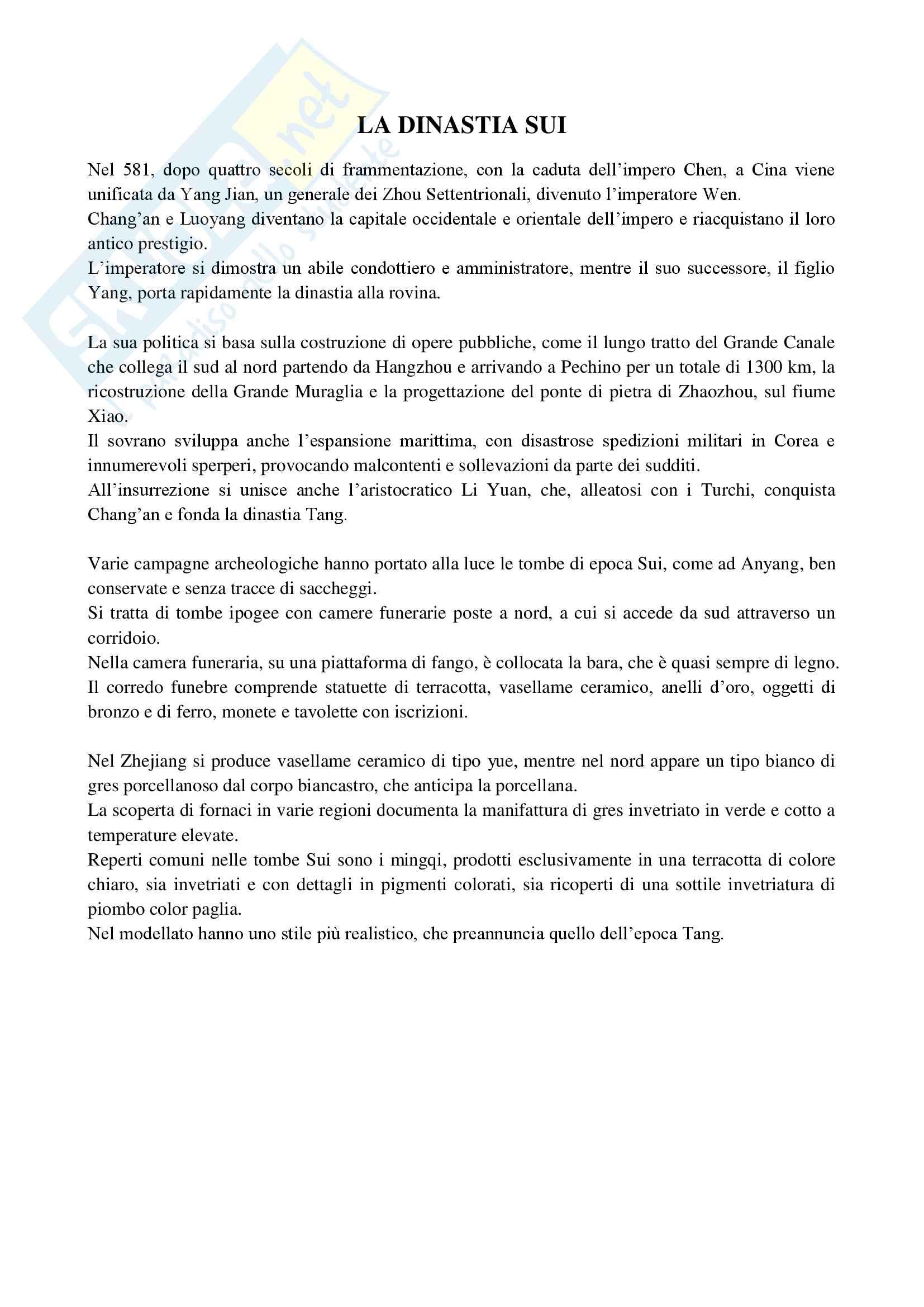 Riassunto esame Archeologia e Storia dell'Arte Cinese, prof. Visconti, libro consigliato Yishu, manuale di storia dell'arte cinese, Lucia Caterina Pag. 31