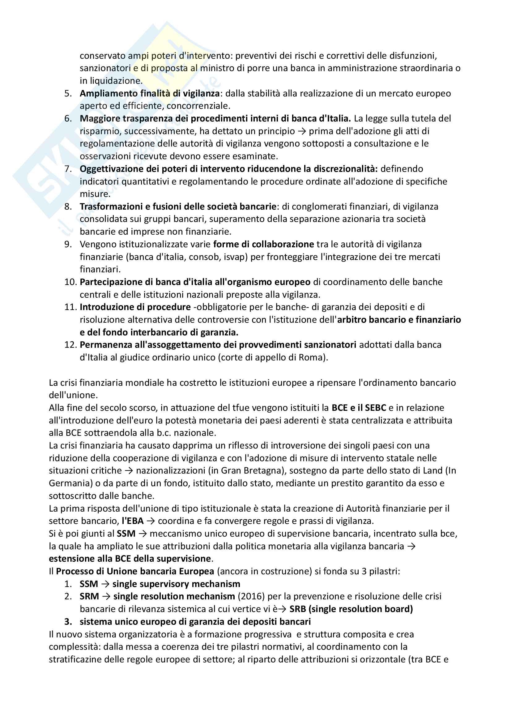 Riassunto di diritto bancario, prof Passalacqua, libro consigliato La regolazione pubblica delle banche, Amorosino Pag. 11