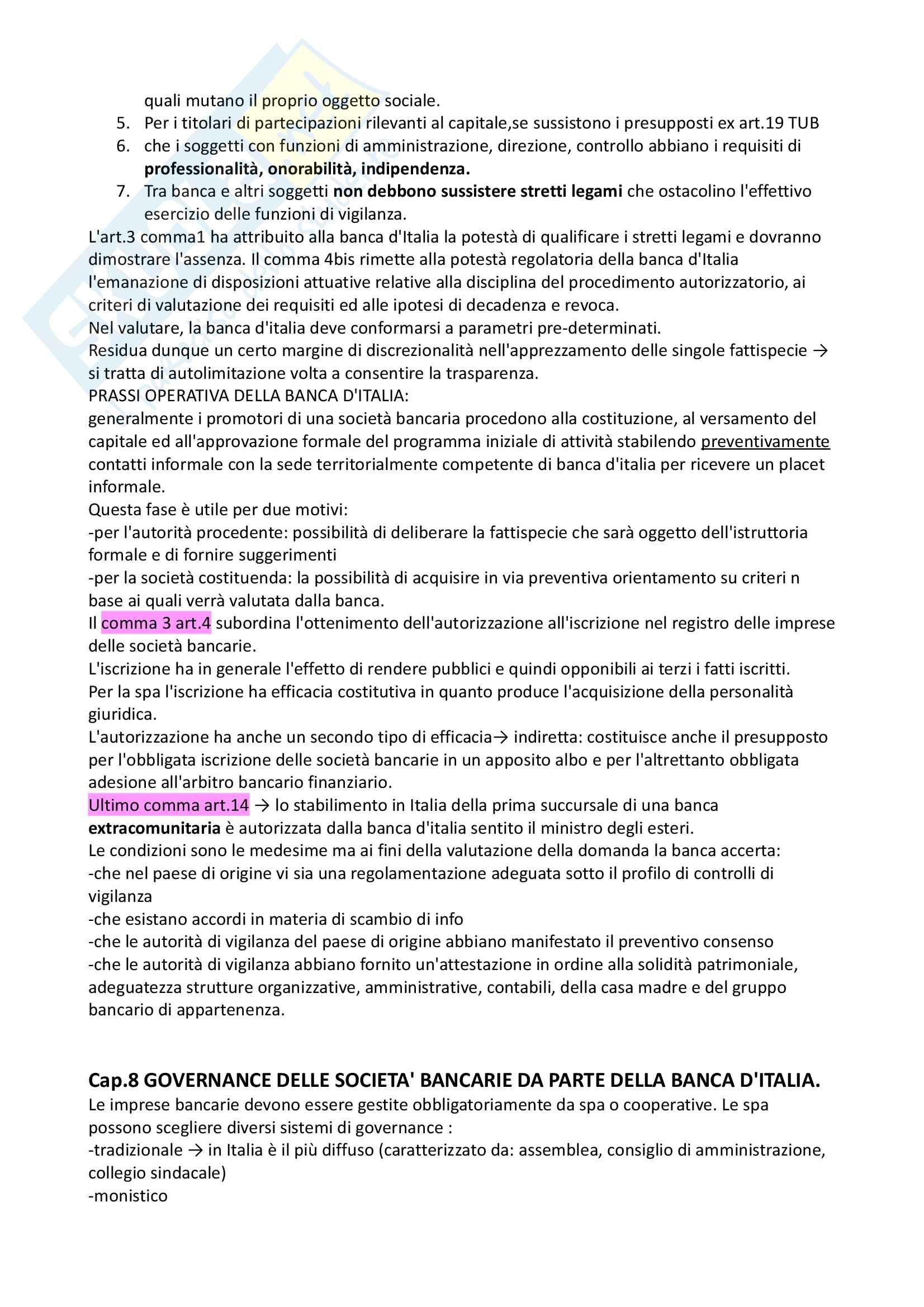 Riassunto di diritto bancario, prof Passalacqua, libro consigliato La regolazione pubblica delle banche, Amorosino Pag. 21