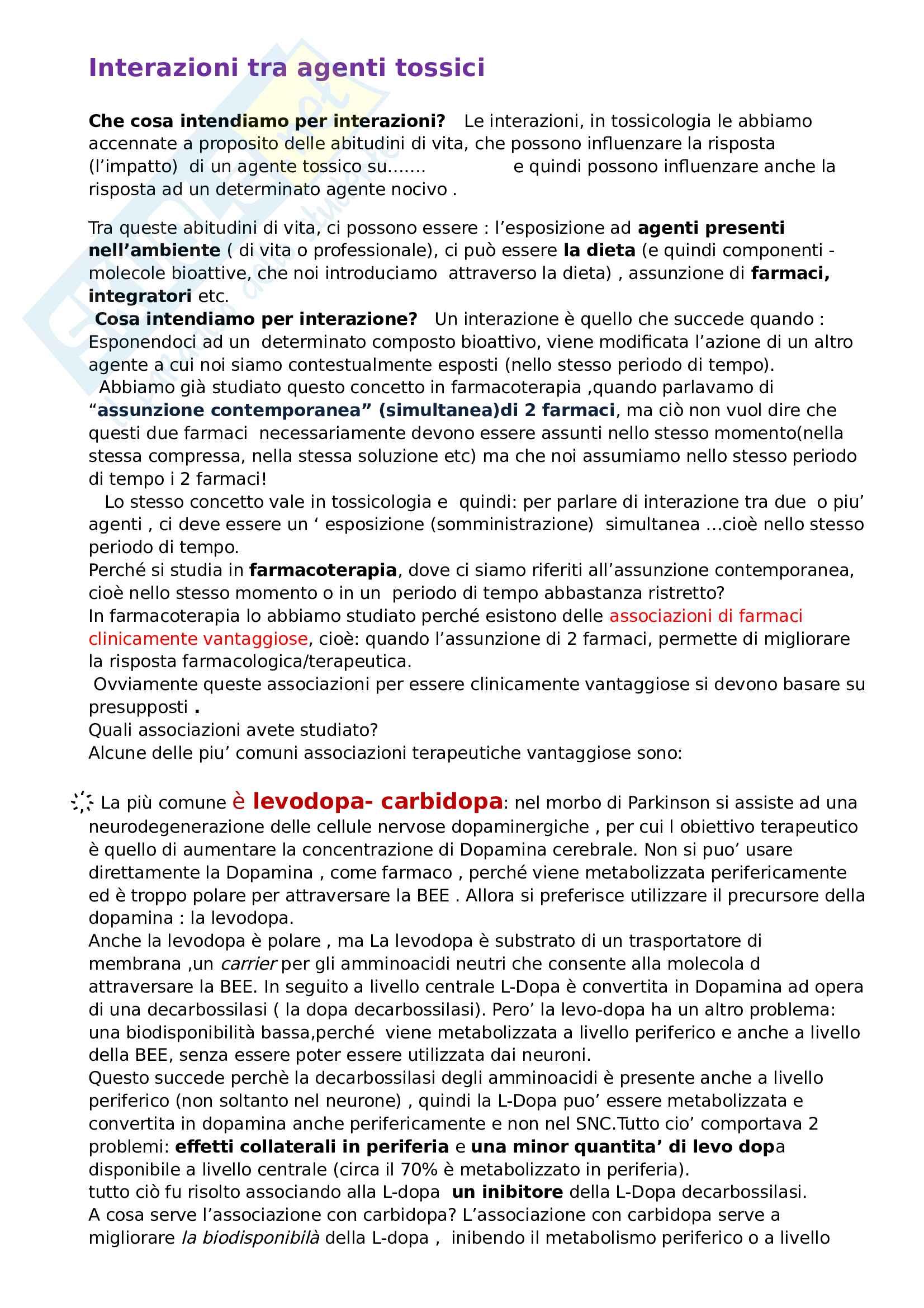 Interazioni tra agenti tossici:classificazione delle interazioni ed esempi (carbidopa / levodopa, ace inibitore e diuretico, Metotrexato / ac. folico....) - TOSSICOLOGIA -