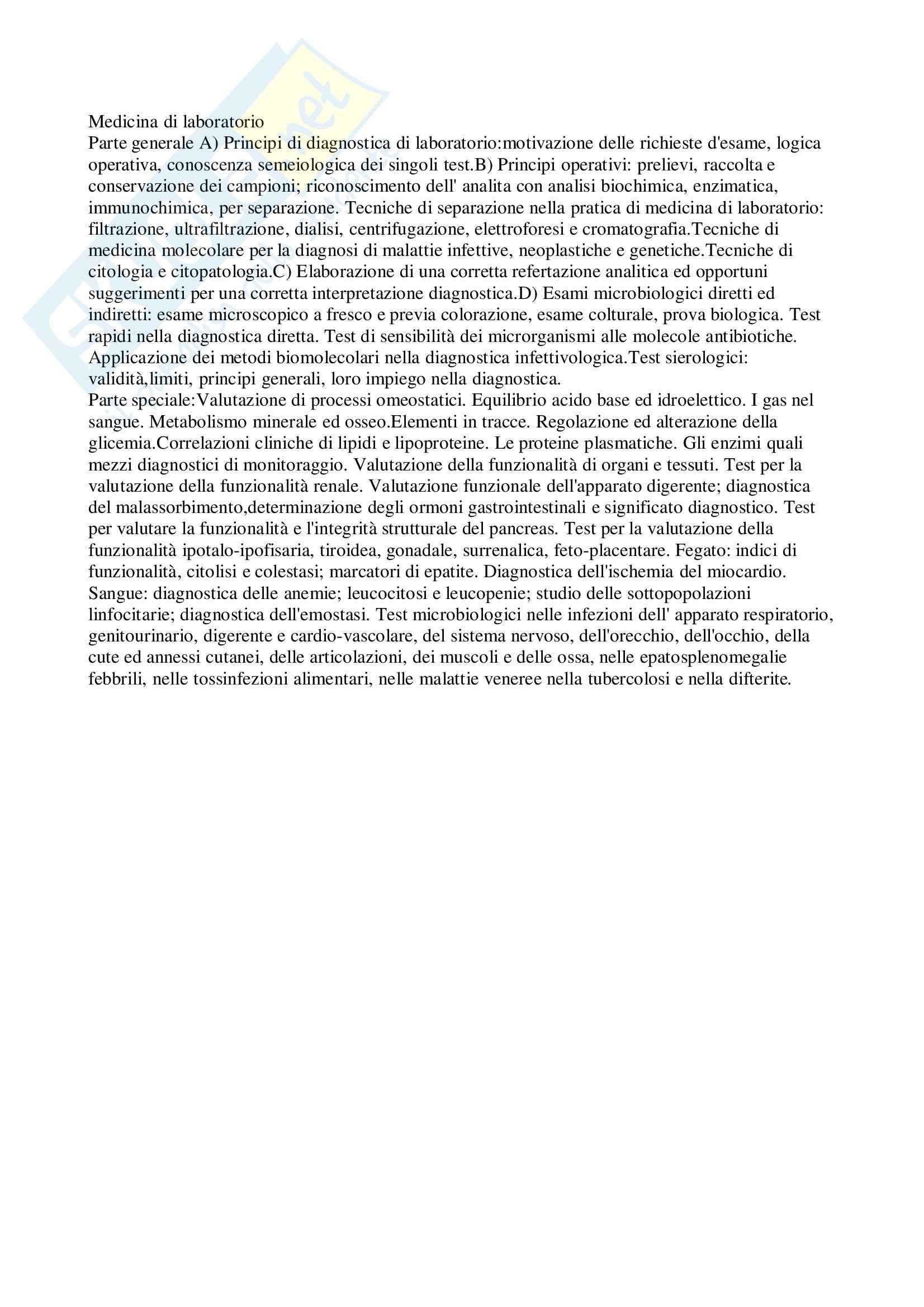 appunto T. Currà Medicina di laboratorio