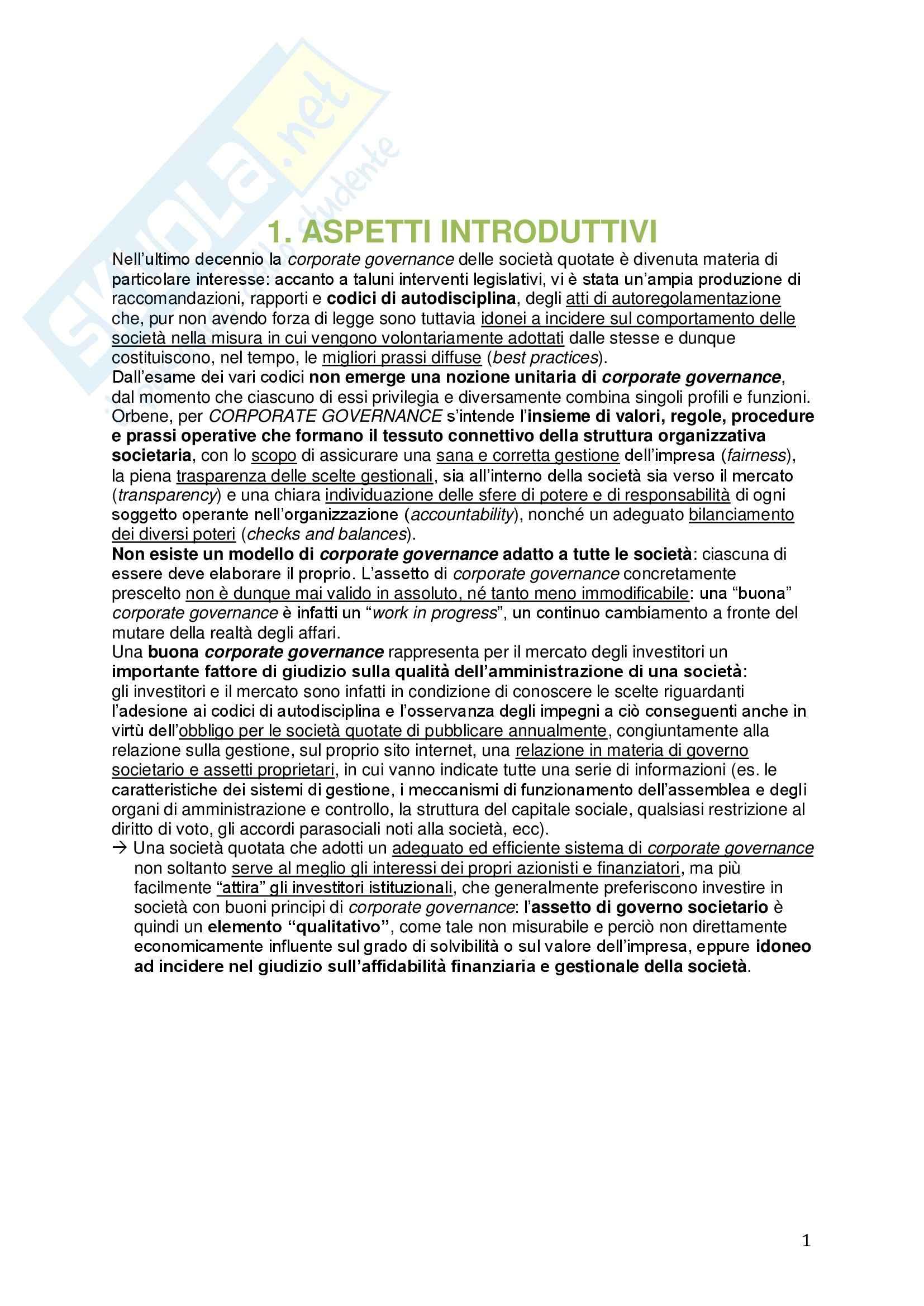 Riassunto esame Diritto commerciale, prof. Meruzzi, libro consigliato La corporate governance delle società quotate, Chiappetta