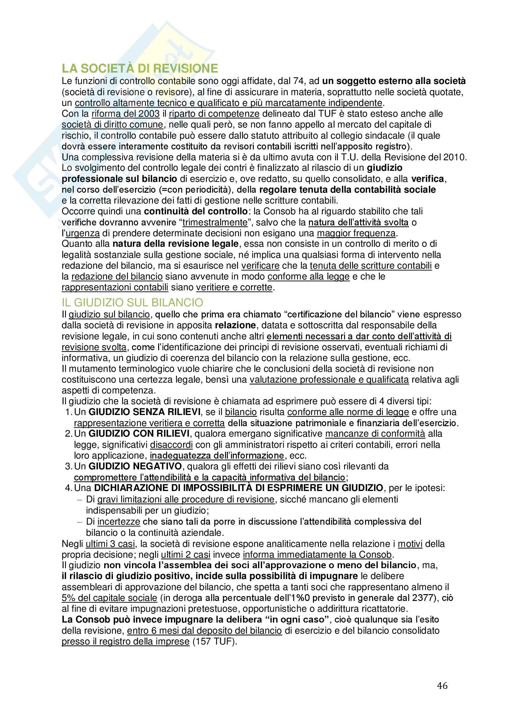 Riassunto esame Diritto commerciale, prof. Meruzzi, libro consigliato La corporate governance delle società quotate, Chiappetta Pag. 46