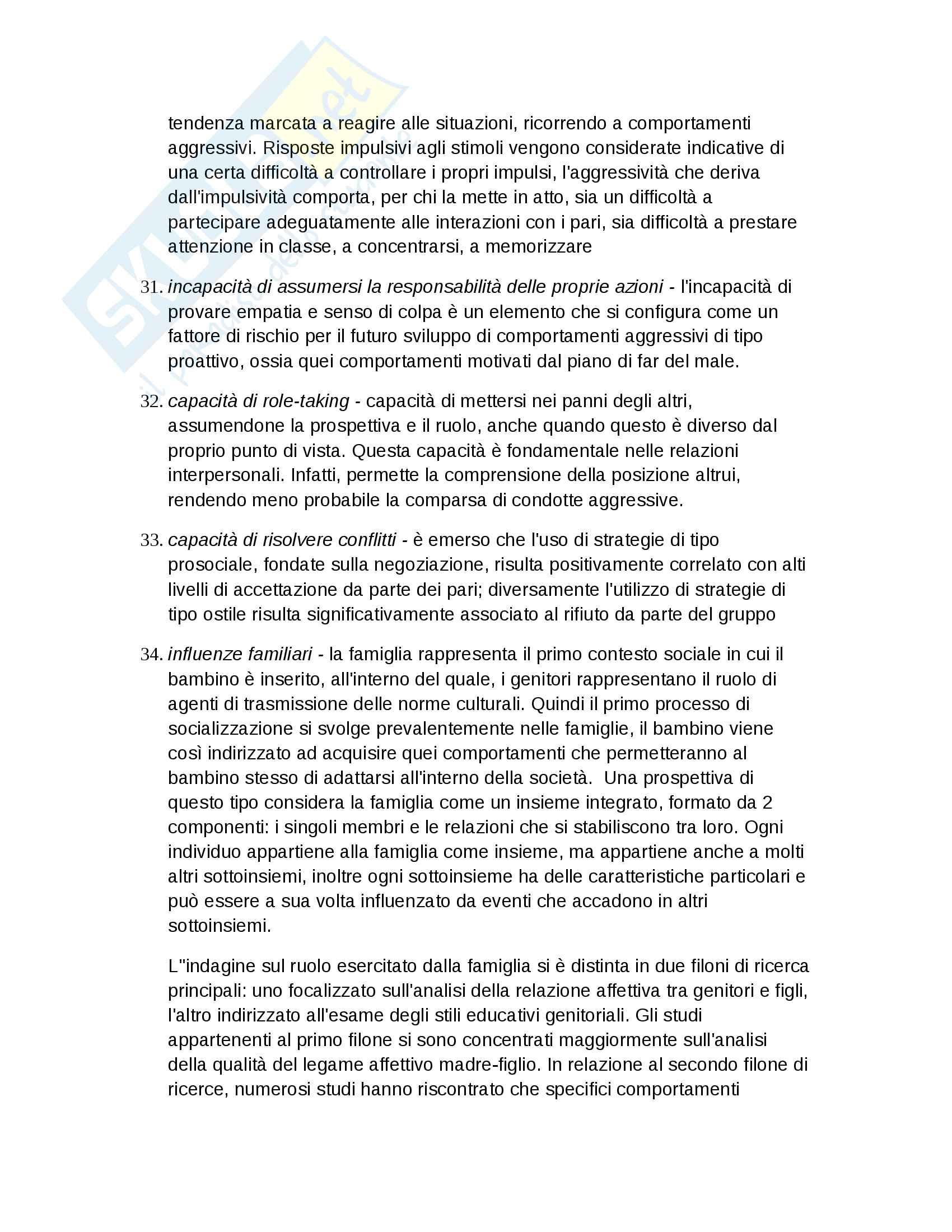 Riassunto Psicologia dello sviluppo, prof. Carbone, libro consigliato Significati e funzioni del comportamento aggressivo, Carbone Pag. 21