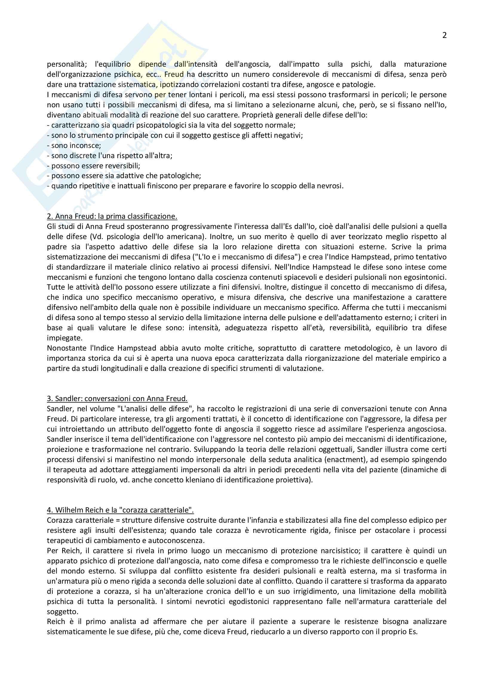 "Riassunto esame di Psicologia clinica, prof. Madeddu, libro consigliato ""I meccanismi di difesa"", Lingiardi, Madeddu Pag. 2"