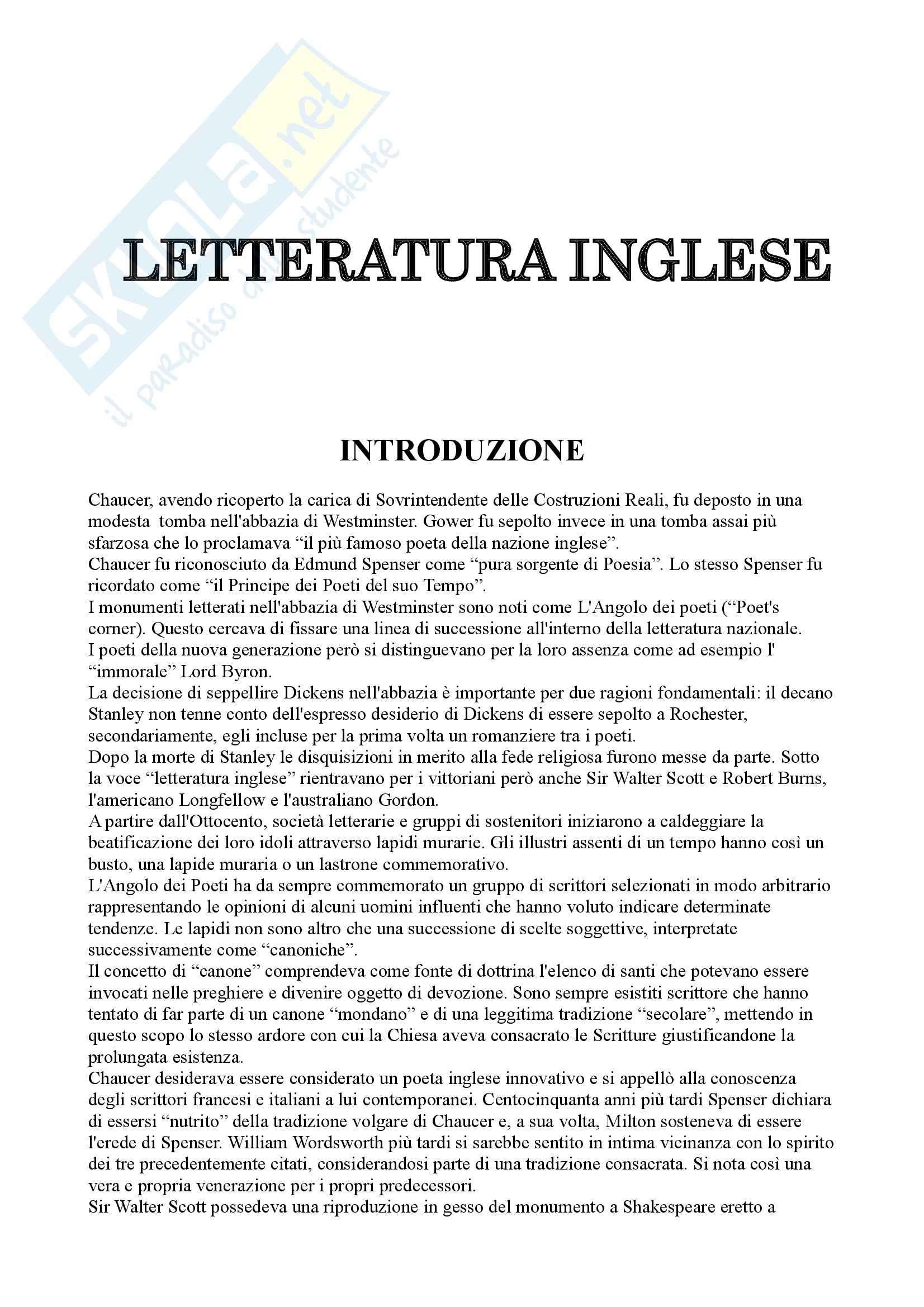 Riassunto esame Letteratura inglese, prof. Ettorre, libro consigliato Storia della letteratura inglese, Sanders ( volume 1)